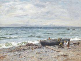 Joseph Henderson RSW (British, 1832-1908) Fisher Children, Ayrshire 45 x 60 cm. (17 11/16 x 23 5/...