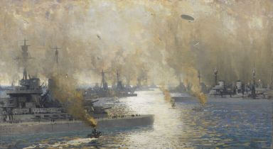 James Paterson PRSW RSA RWS (British, 1854-1932) The German Fleet After Surrender - Firth of Fort...