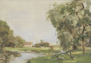 William Miller Frazer, RSA (British, 1864-1961) A landscape with geese, East Lothian