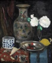 George Leslie Hunter (British, 1877-1931) Still Life with a Chinese Vase and White Roses 56 x 48 ...