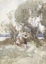 Sir William Russell Flint, RA, PRWS (British, 1880-1969) In the dappled shade 50.5 x 35.8 cm. (19...