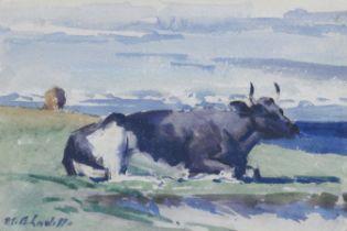 Francis Campbell Boileau Cadell RSA RSW (British, 1883-1937) Study of a cow 17.5 x 25 cm. (6 7/8 ...