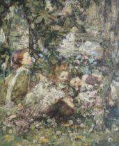 Edward Atkinson Hornel (British, 1864-1933) Lily pond with swans 117 x 101 cm. (46 1/16 x 39 3/4 ...