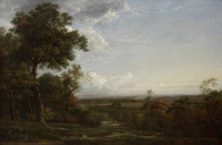 Patrick Nasmyth (British, 1787-1831) Landscape with figures resting 55 x 85 cm. (21 5/8 x 33 7/16...