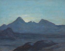 Sir David Young Cameron RA RSA RWS RSW RE (British, 1865-1945) The Hills of Skye 32.5 x 40.6 cm. ...