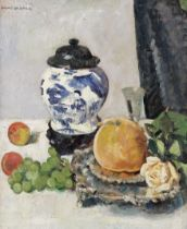 George Leslie Hunter (British, 1877-1931) Still life with Chinese vase, fruit and silver salver 6...