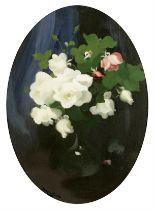 James Stuart Park (British, 1862-1933) Still life of roses oval 74.6 x 54.3cm (29 3/8 x 21 3/8in)...