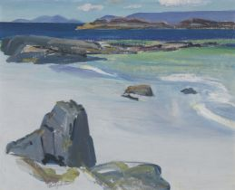 Penelope Beaton, ARSA RSW (British, 1886-1963) Rocks and Receding Tide, Iona 37 x 44 cm. (14 9/16...