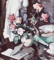 Samuel John Peploe RSA (British, 1871-1935) Still life with roses and an open book 55.9 x 50.8 cm...