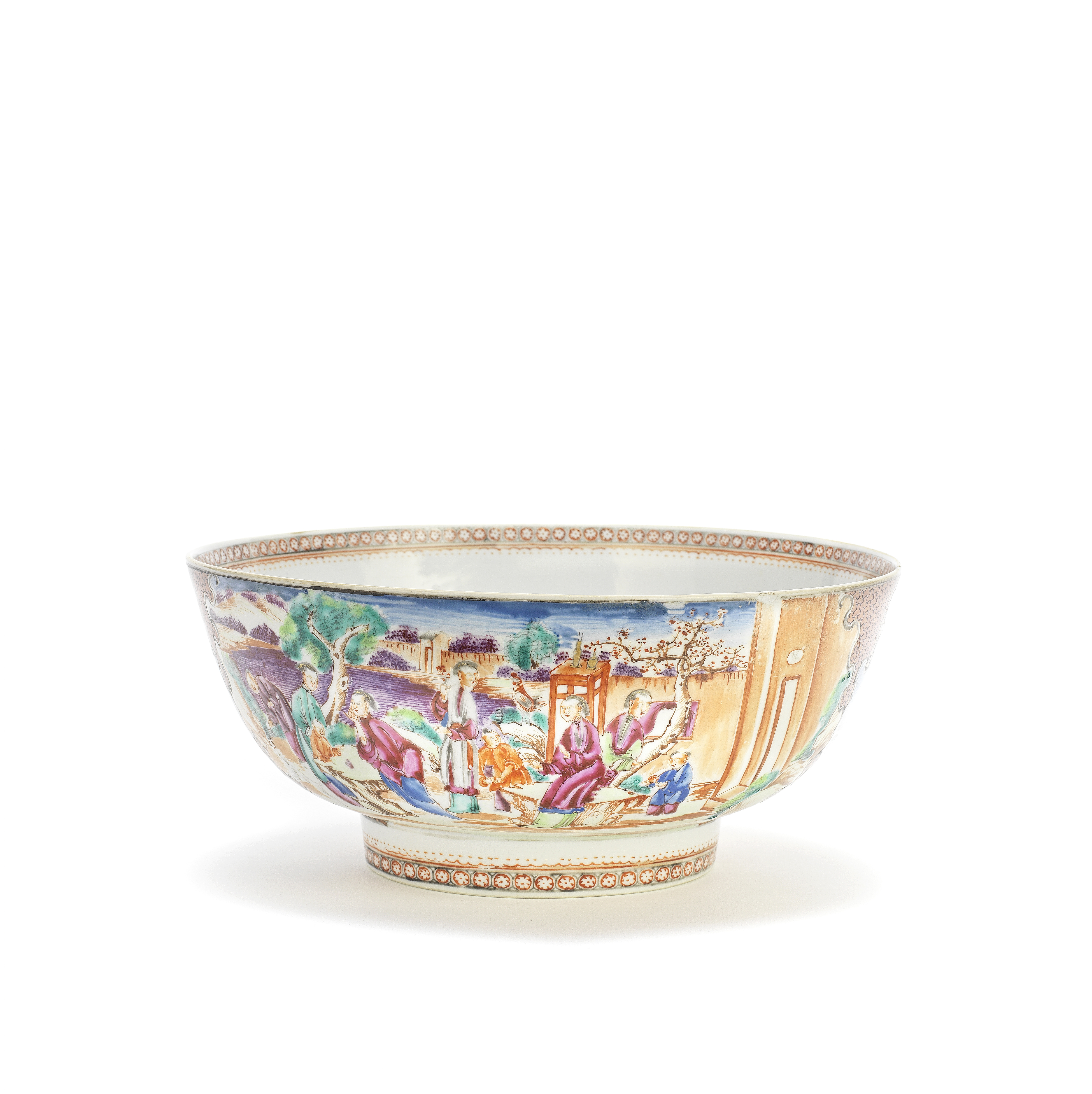 A FAMILLE ROSE EXPORT PUNCH BOWL 18th century