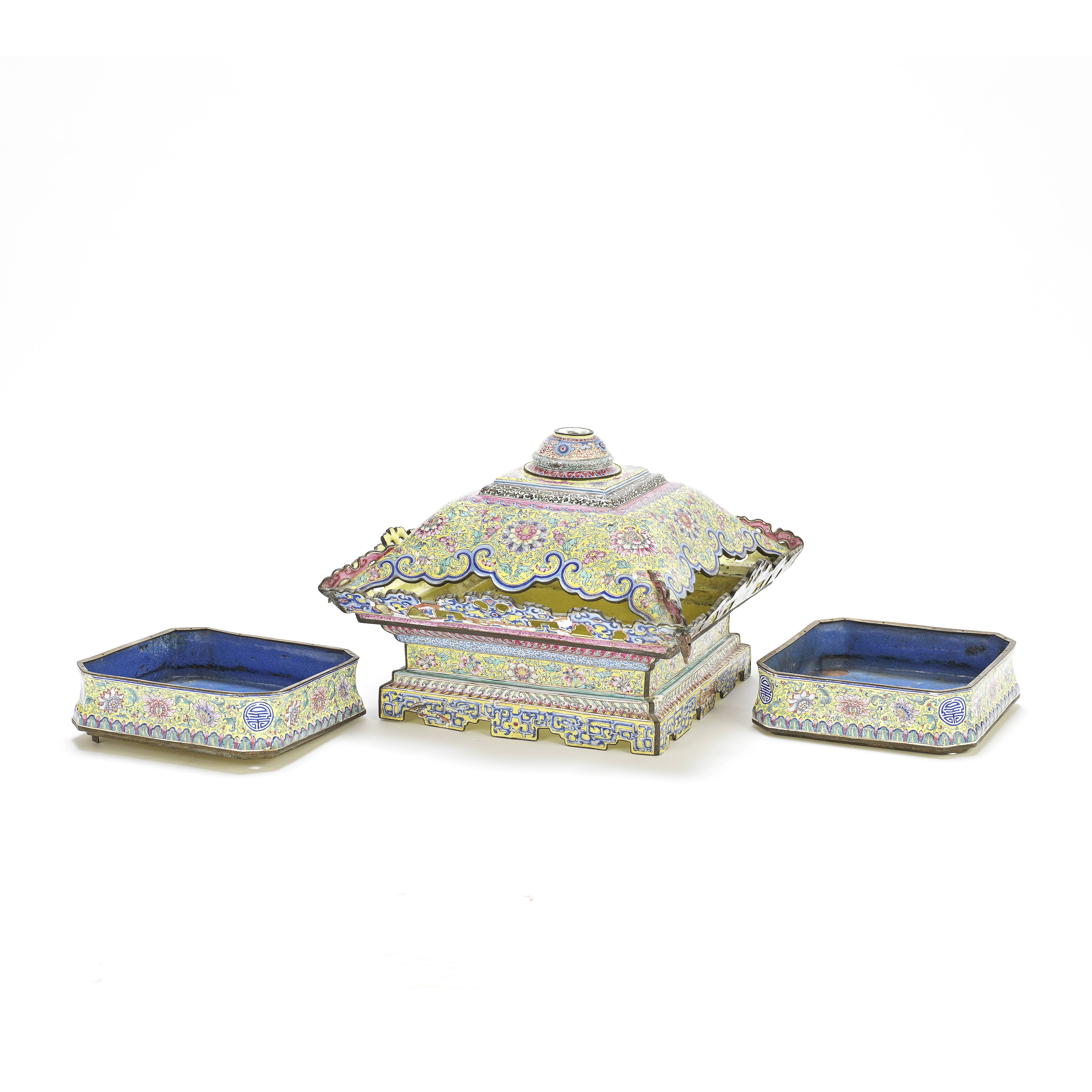 A PAINTED ENAMEL BASE-SECTION AND TWO SIMILARLY DECORATED TRAYS 18th century (3)