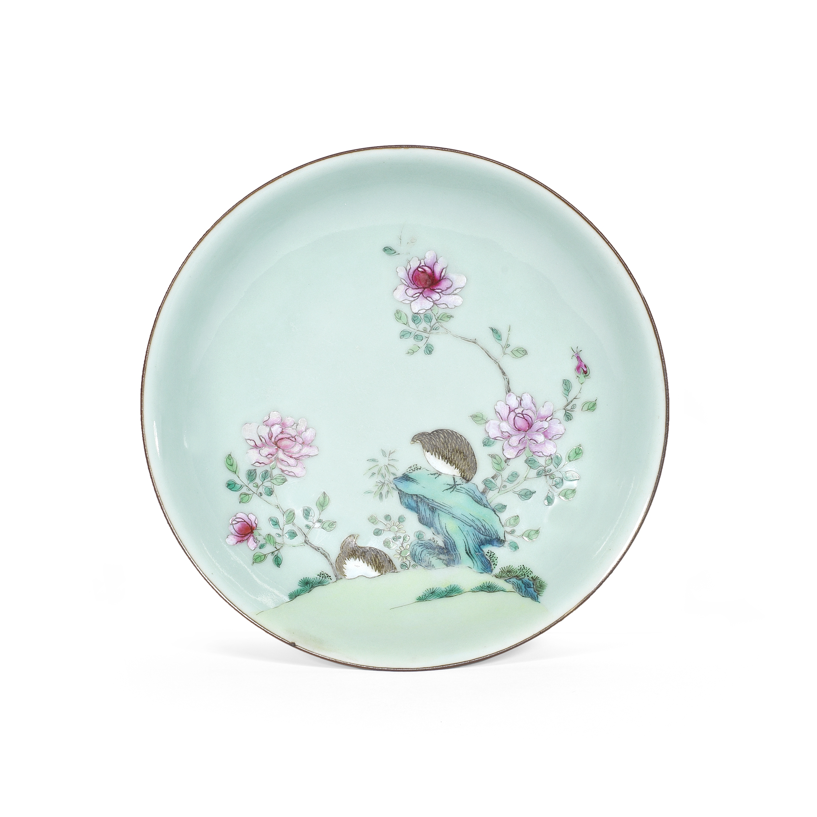 A FAMILLE ROSE CELADON-GROUND 'QUAILS' DISH Qianlong minyao seal mark and of the period