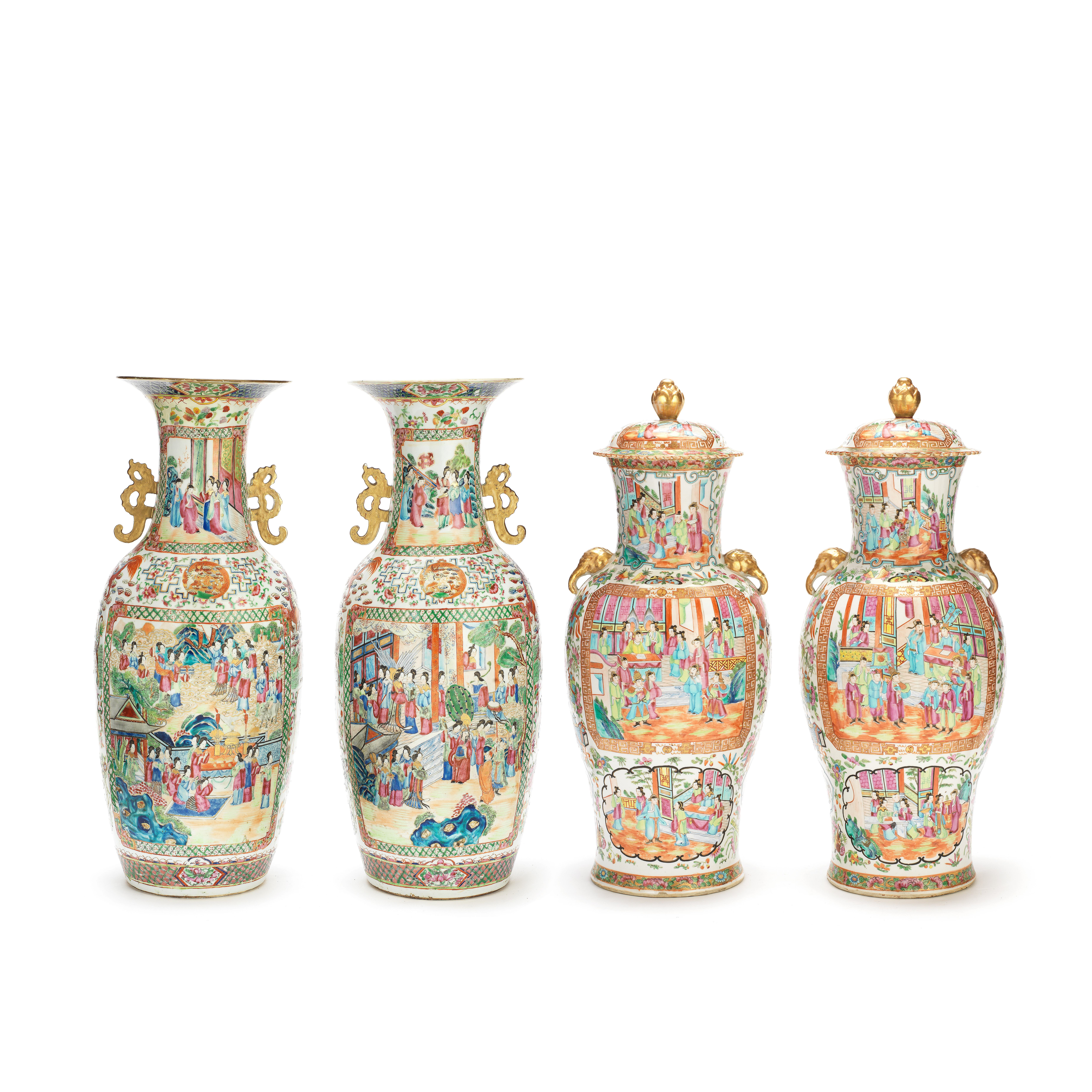 AN ASSOCIATED FOUR-PIECE CANTON FAMILLE ROSE MANTEL PART-GARNITURE Late 19th/early 20th century (6)
