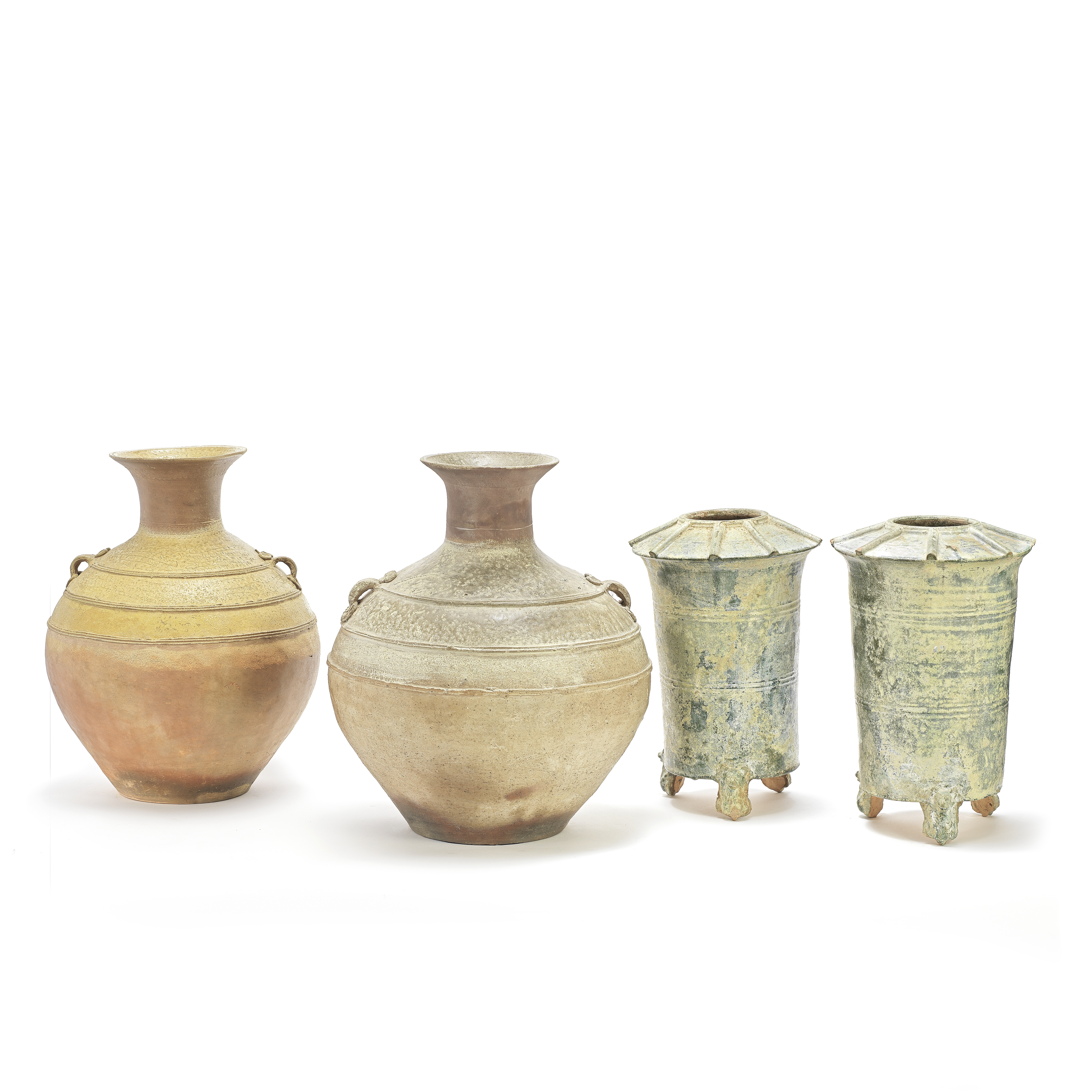 TWO STONEWARE OVOID VASES AND A PAIR OF GREEN-GLAZED GRANARIES Han Dynasty (4)