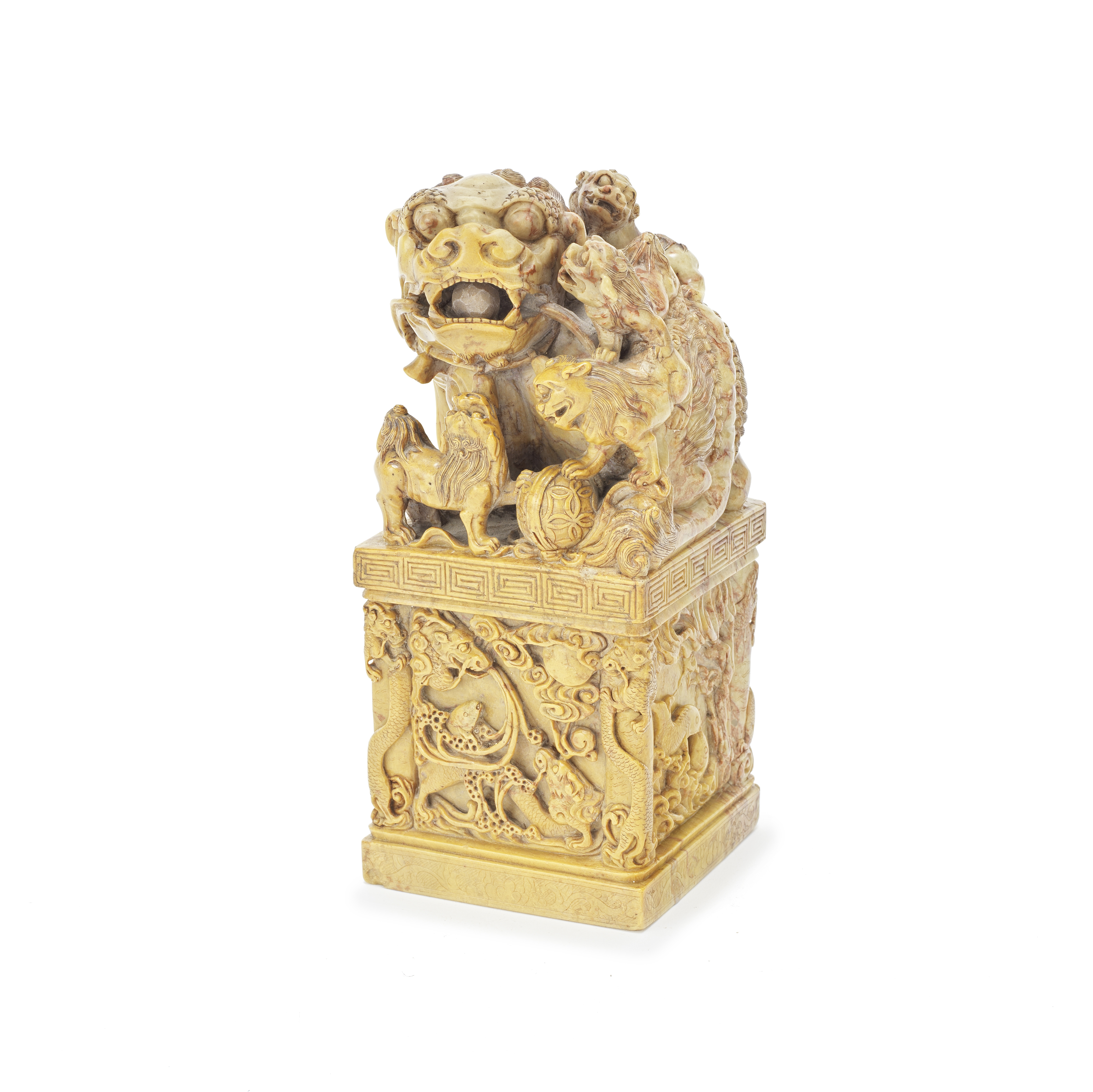 A LARGE SOAPSTONE 'BUDDHIST LIONS' SEAL Late Qing Dynasty