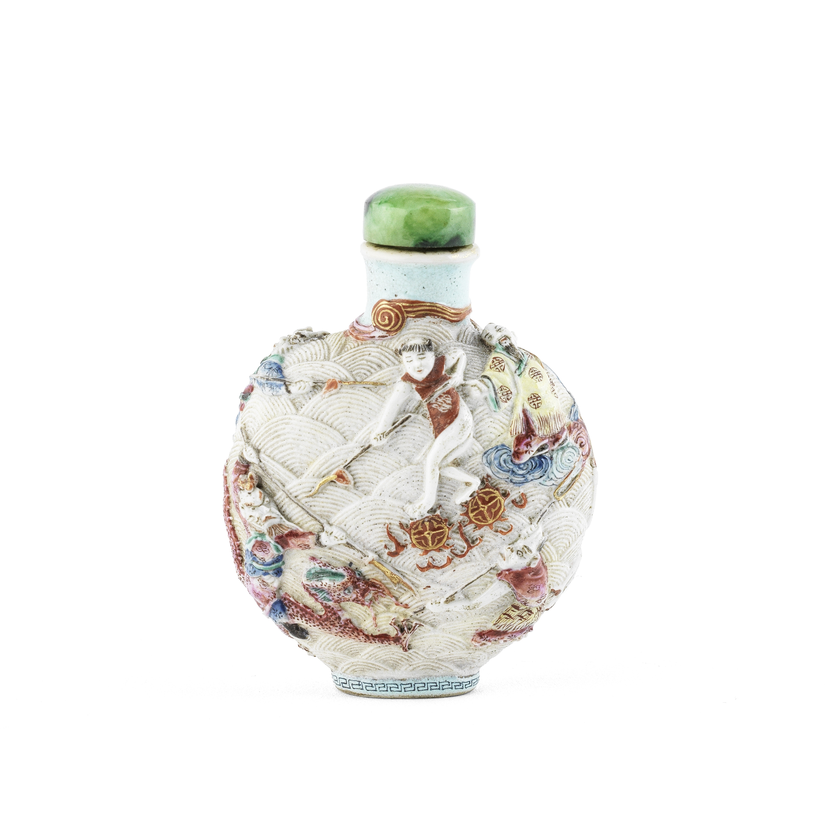 A MOULDED FAMILLE ROSE SNUFF BOTTLE Qianlong seal mark, 19th century (2)