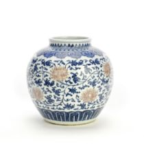 A BLUE AND WHITE AND COPPER RED 'LOTUS' JAR 18th century