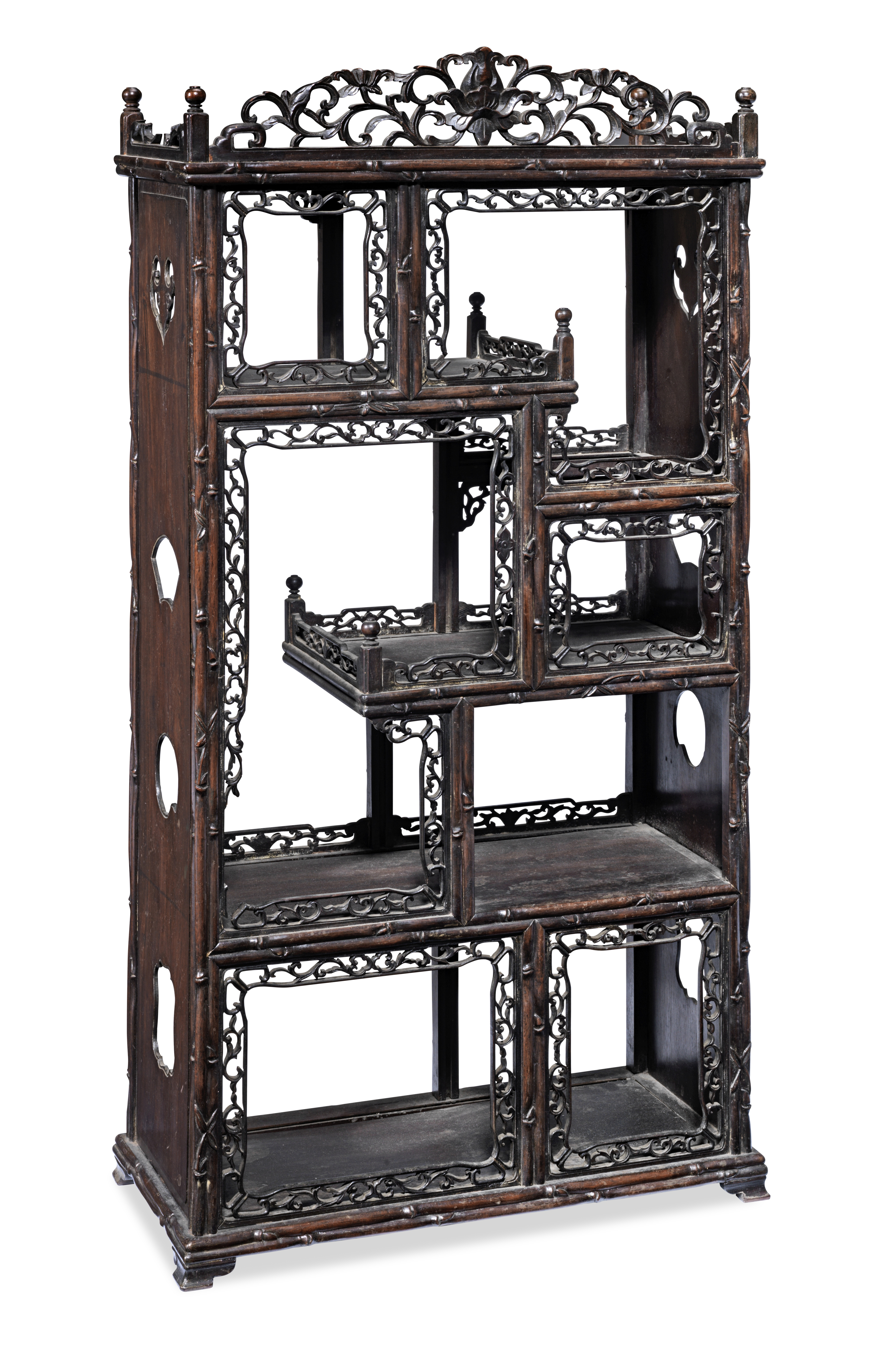 A SMALL HONGMU DISPLAY CABINET Late Qing Dynasty