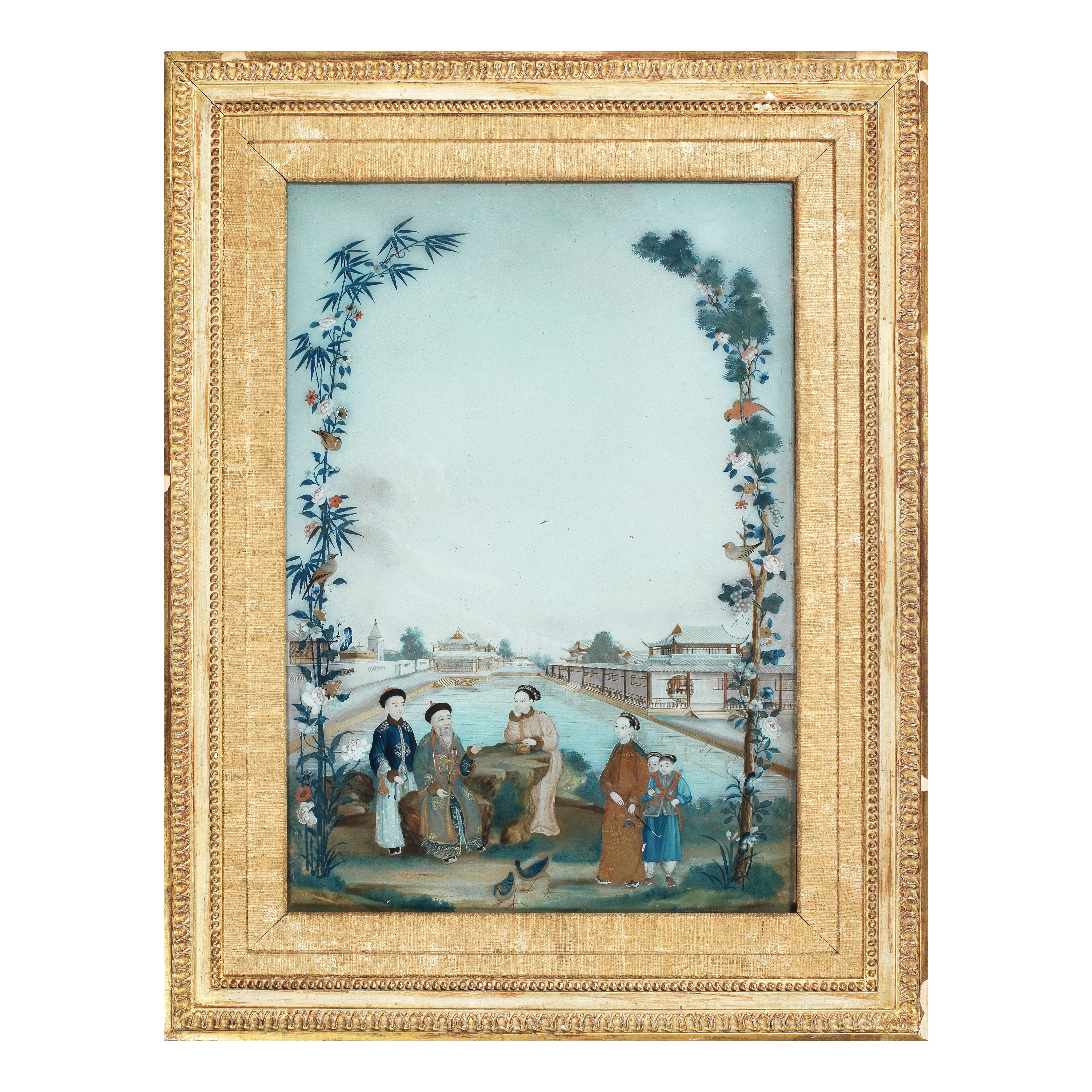 A REVERSE GLASS PAINTING OF OFFICIALS AND LADIES Late 18th century