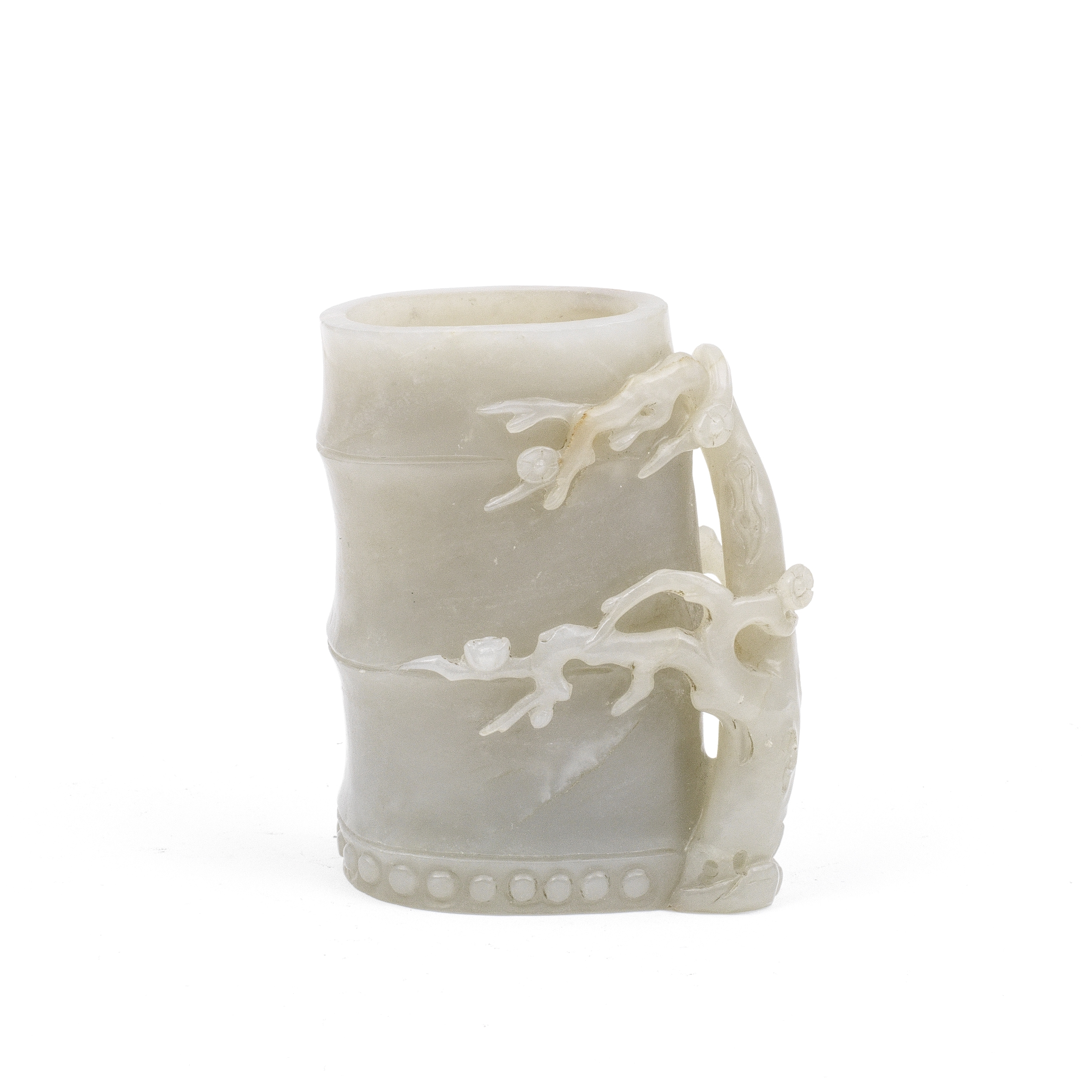 A PALE GREEN JADE BAMBOO-FORM VASE Qing Dynasty