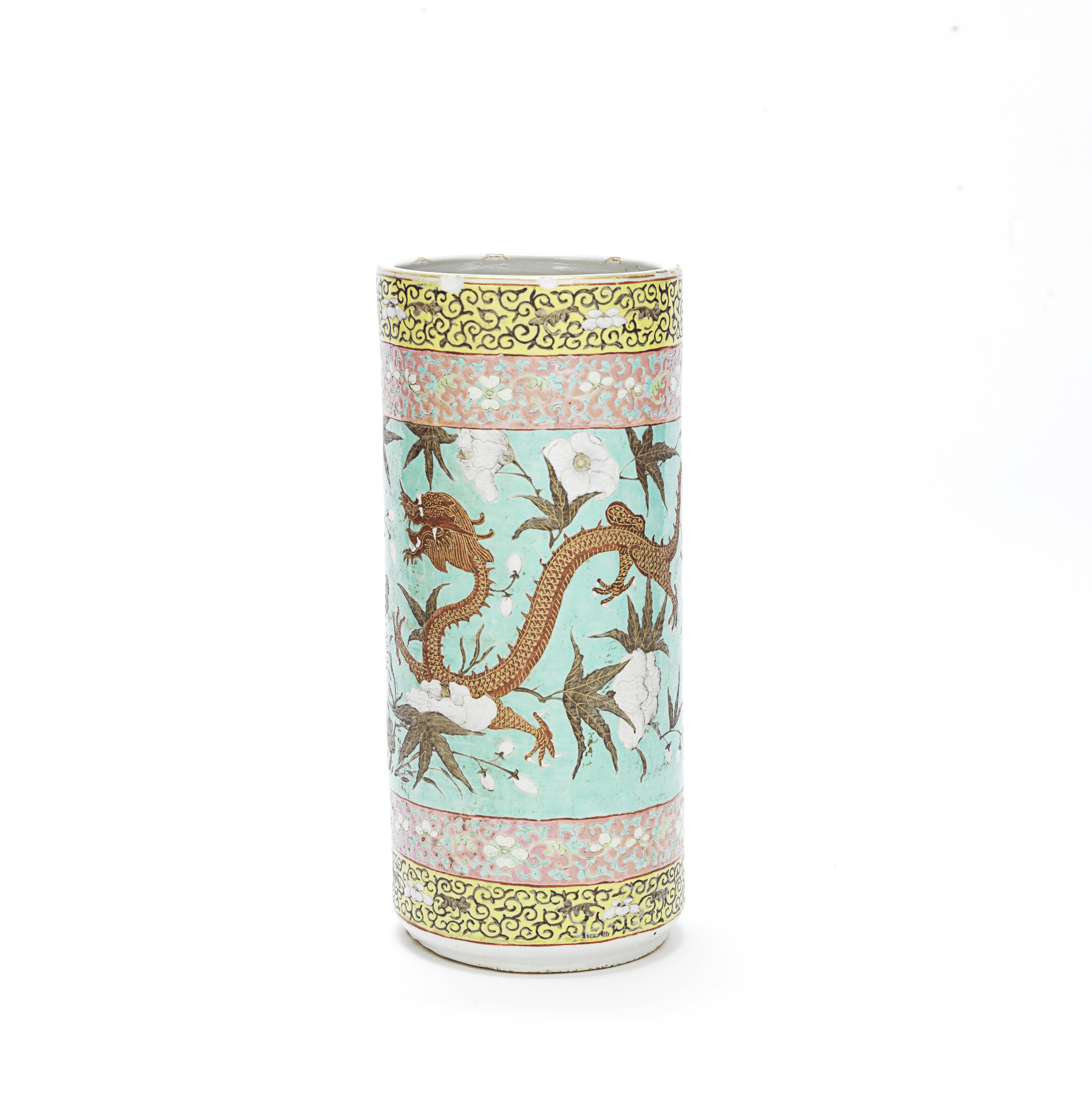A FAMILLE ROSE DAYAZHAI-STYLE CYLINDRICAL VASE Late Qing Dynasty