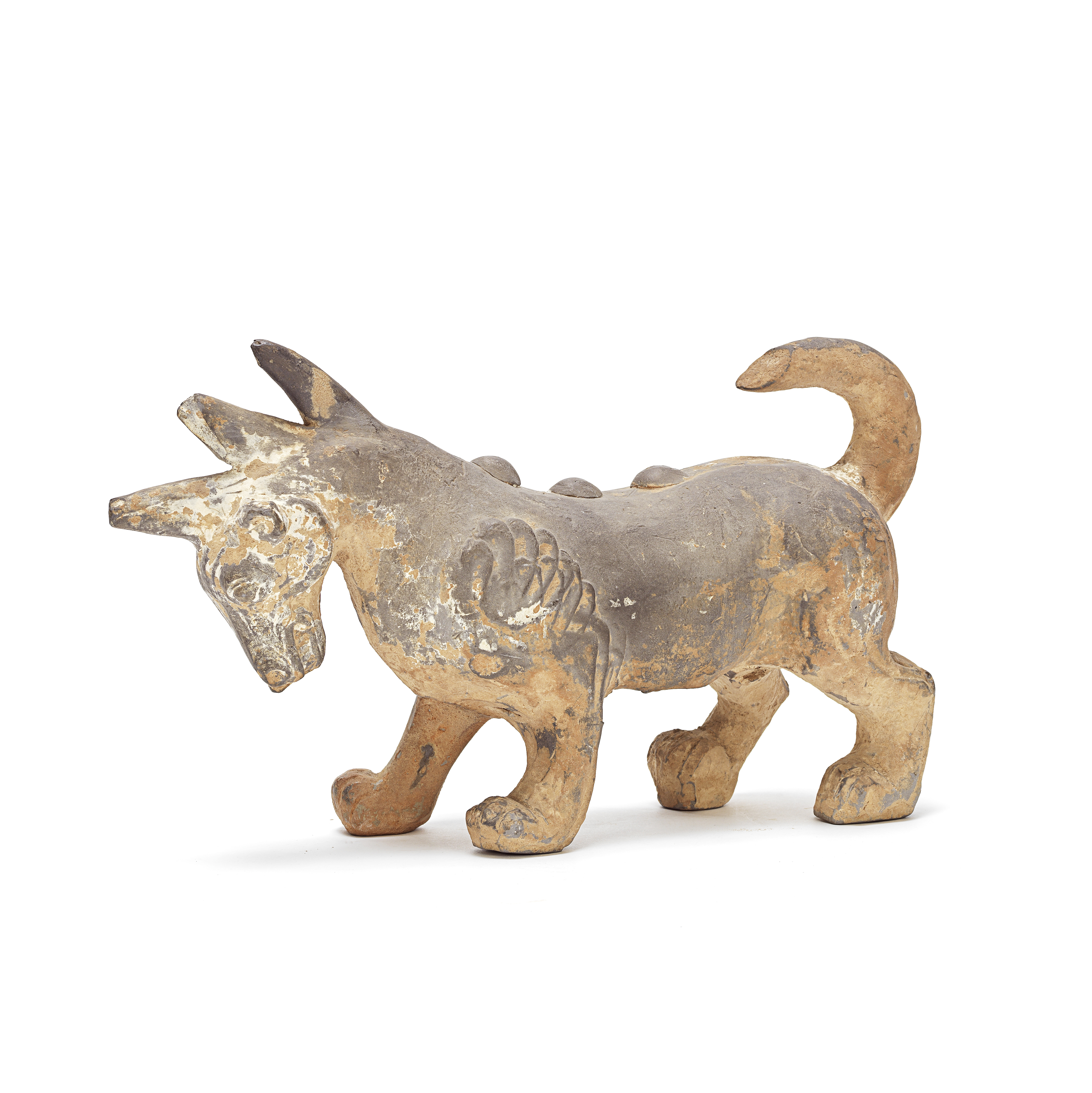 A RARE AND UNUSUAL PAINTED GREY POTTERY FIGURE OF A TRICORN BEAST Han Dynasty