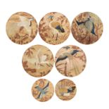 A GROUP OF SEVEN SILK EMBROIDERED CIRCULAR 'BIRD' PANELS 19th century (7)