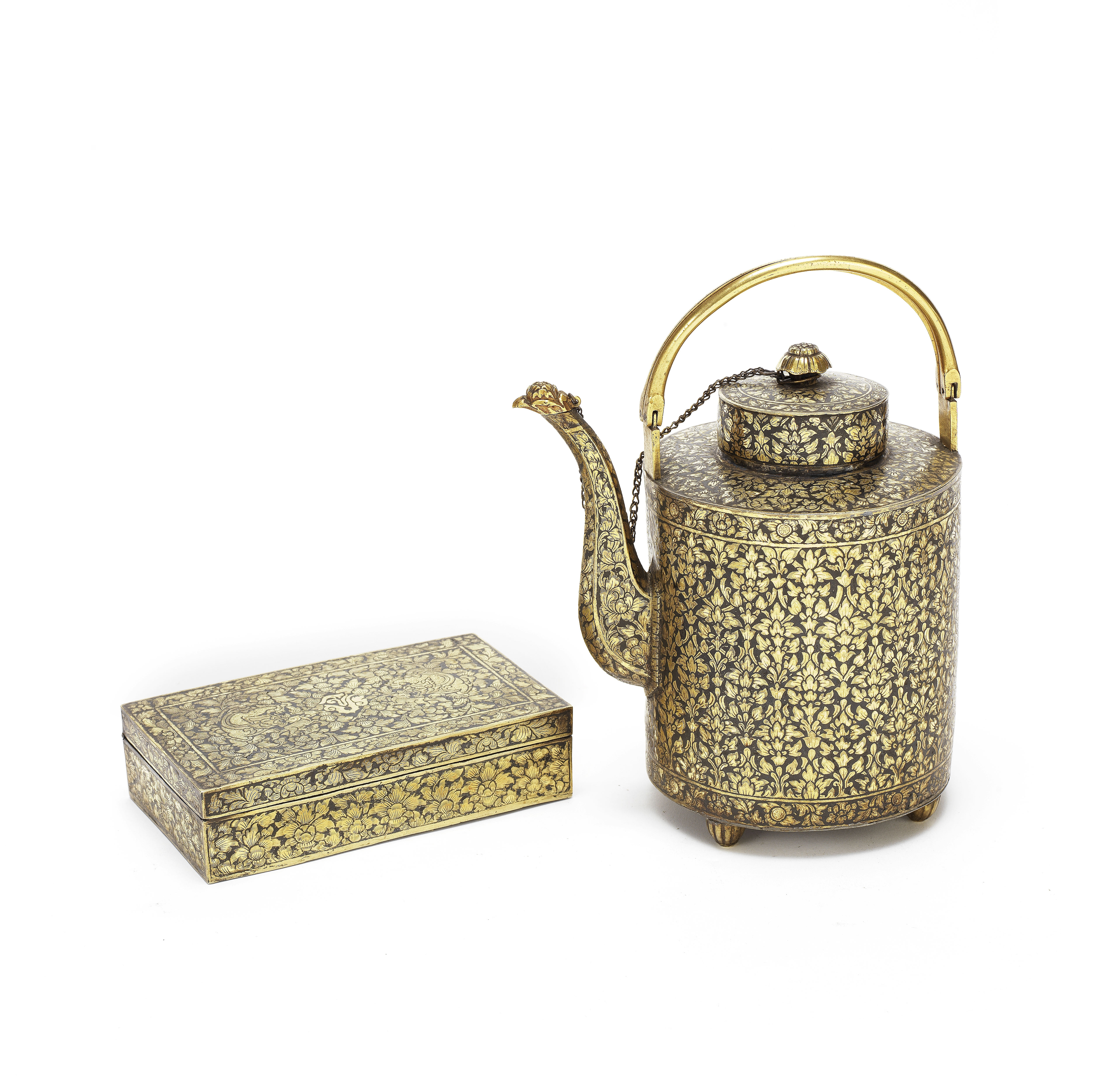 A GILDED SILVER NIELLO TEAPOT AND COVER AND A HINGED BOX AND COVER Siam, 19th century (3)