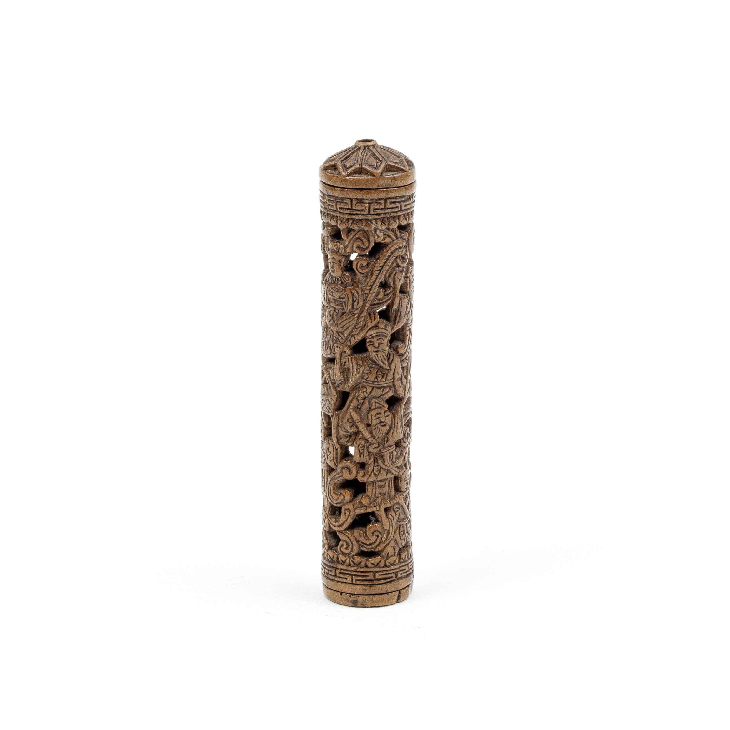 A BOXWOOD RETICULATED CYLINDRICAL POMANDER Qing Dynasty (3)