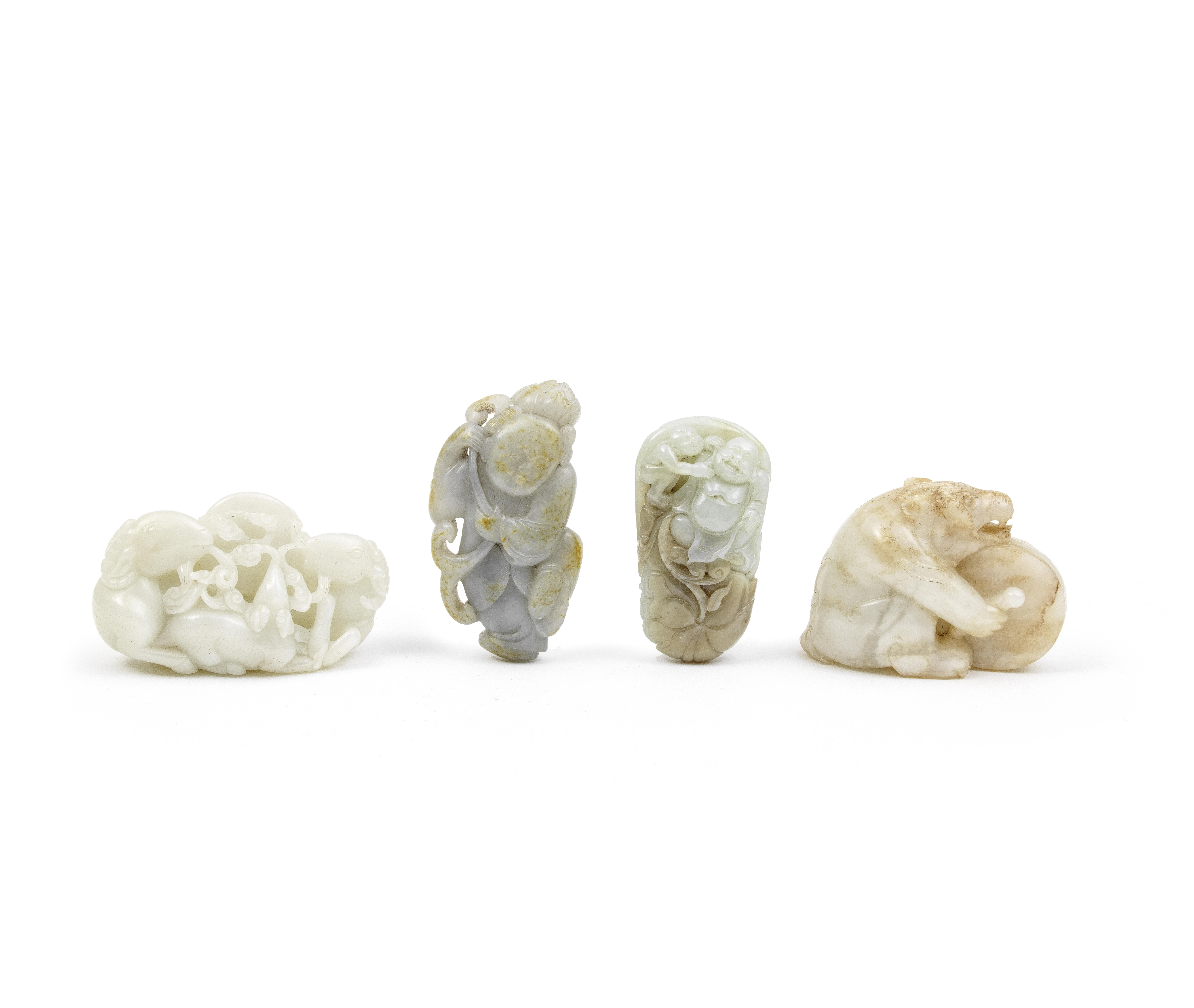 A GROUP OF FOUR JADE CARVINGS 18th/19th century and later (5)