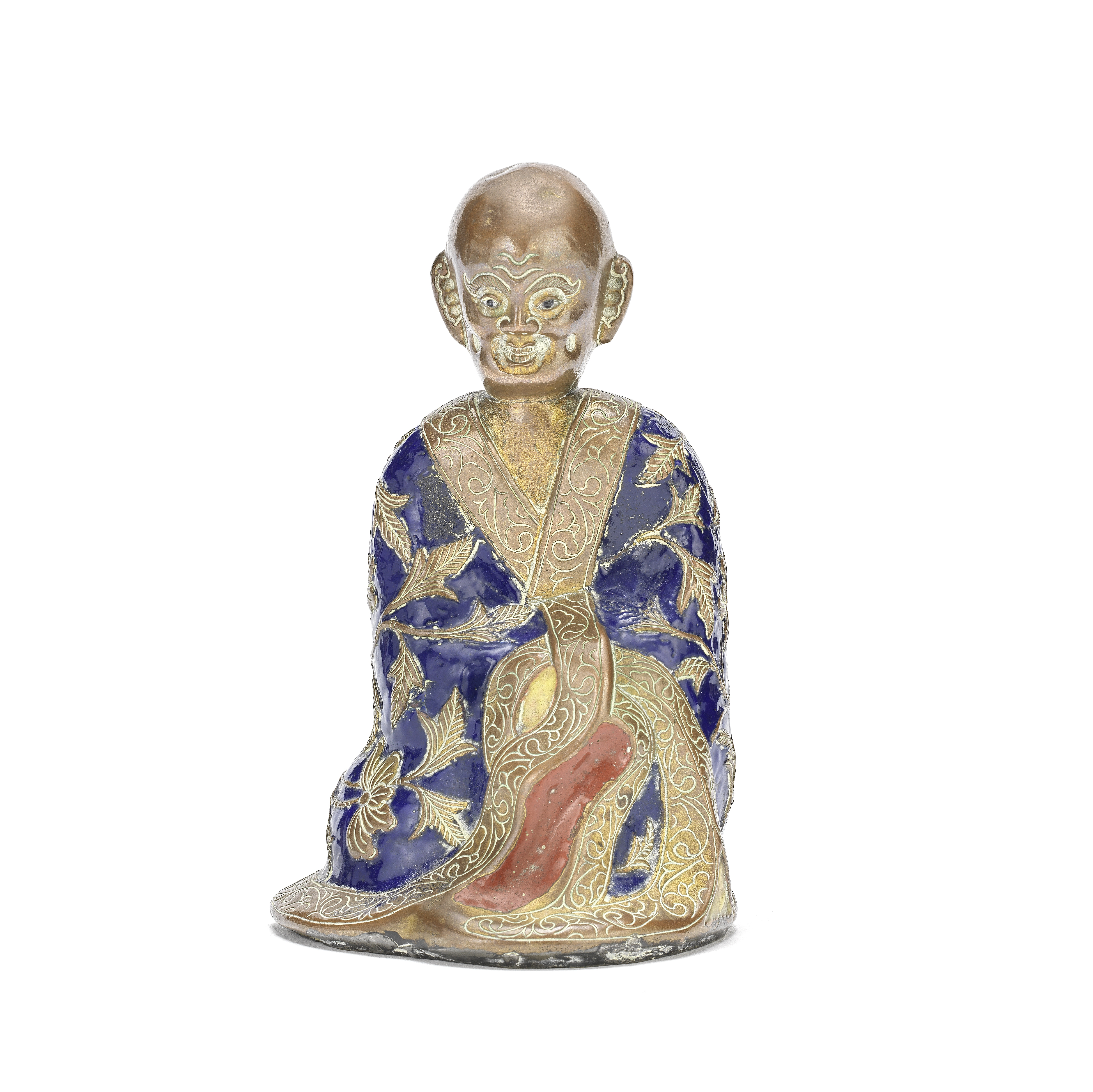 A CHAMPLEVÉ-ENAMEL AND COPPER MODEL OF A LUOHAN Qianlong four-character mark, 19th century