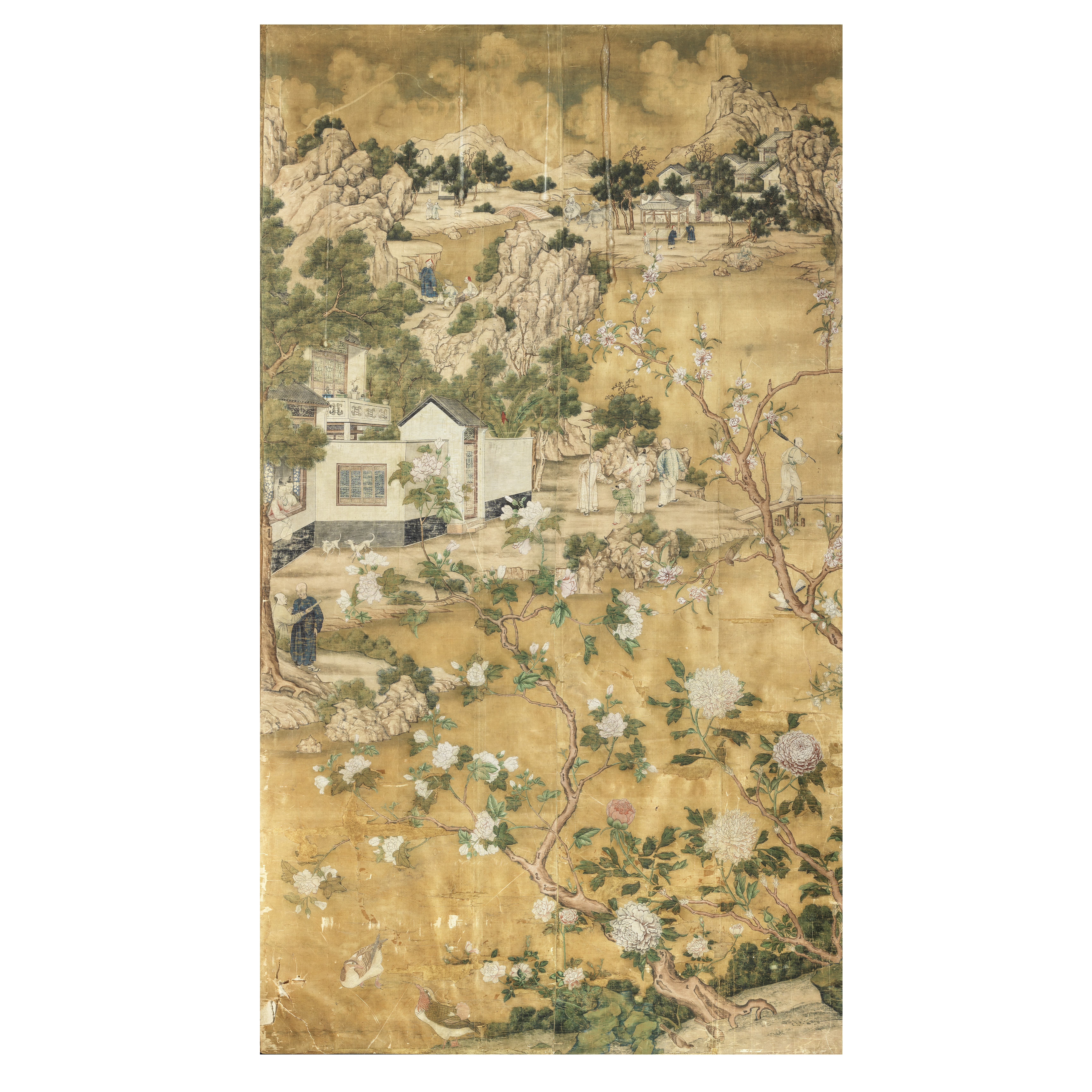 A CHINESE EXPORT WALLPAPER PANEL 18th century