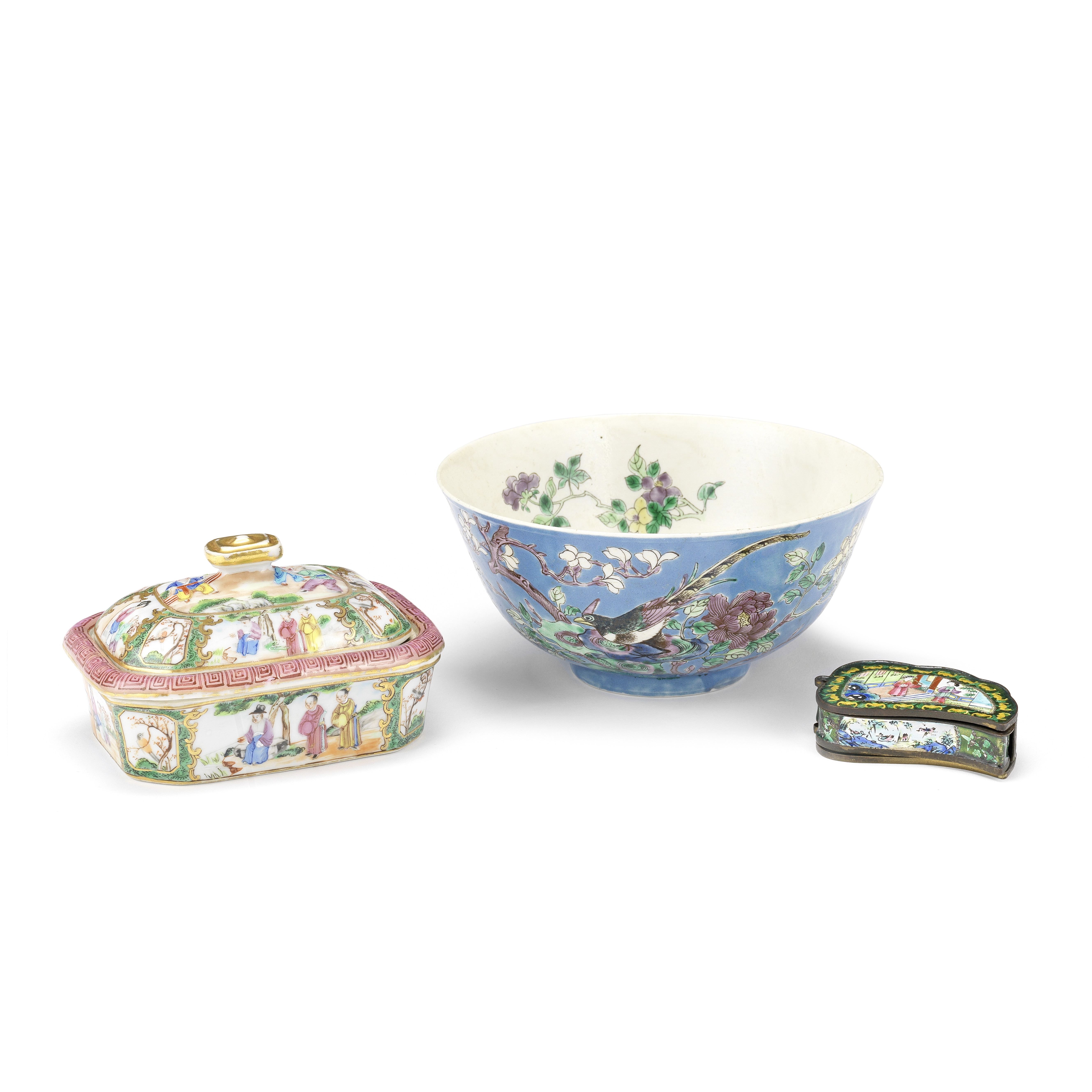 A GROUP COMPRISING A FAMILLE ROSE CANTON SOAP DISH, A TURQUOISE BOWL AND AN ENAMELLED COSMETICS B...