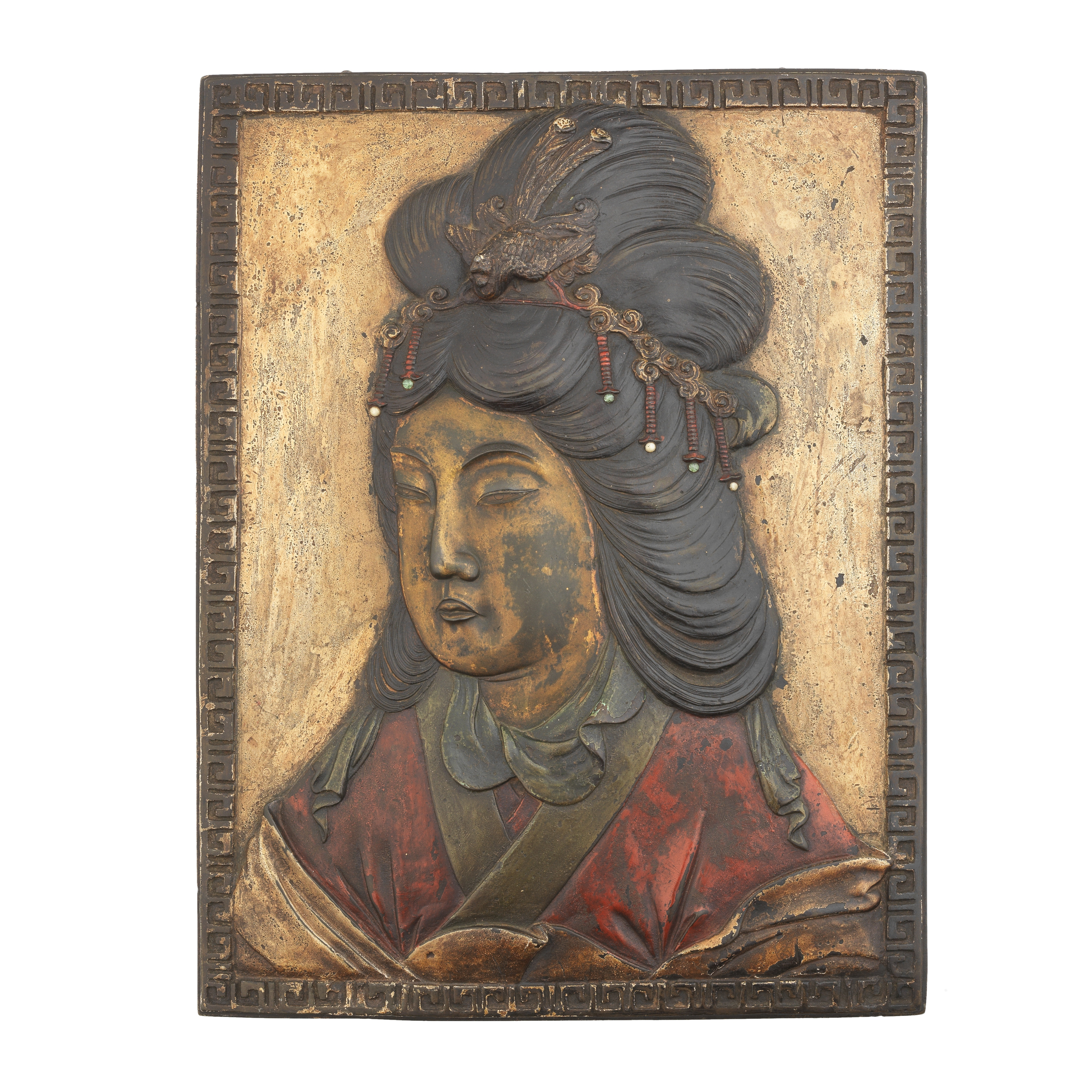 AN UNUSUAL LARGE LACQUERED BRONZE 'GUANYIN' PLAQUE Qing Dynasty