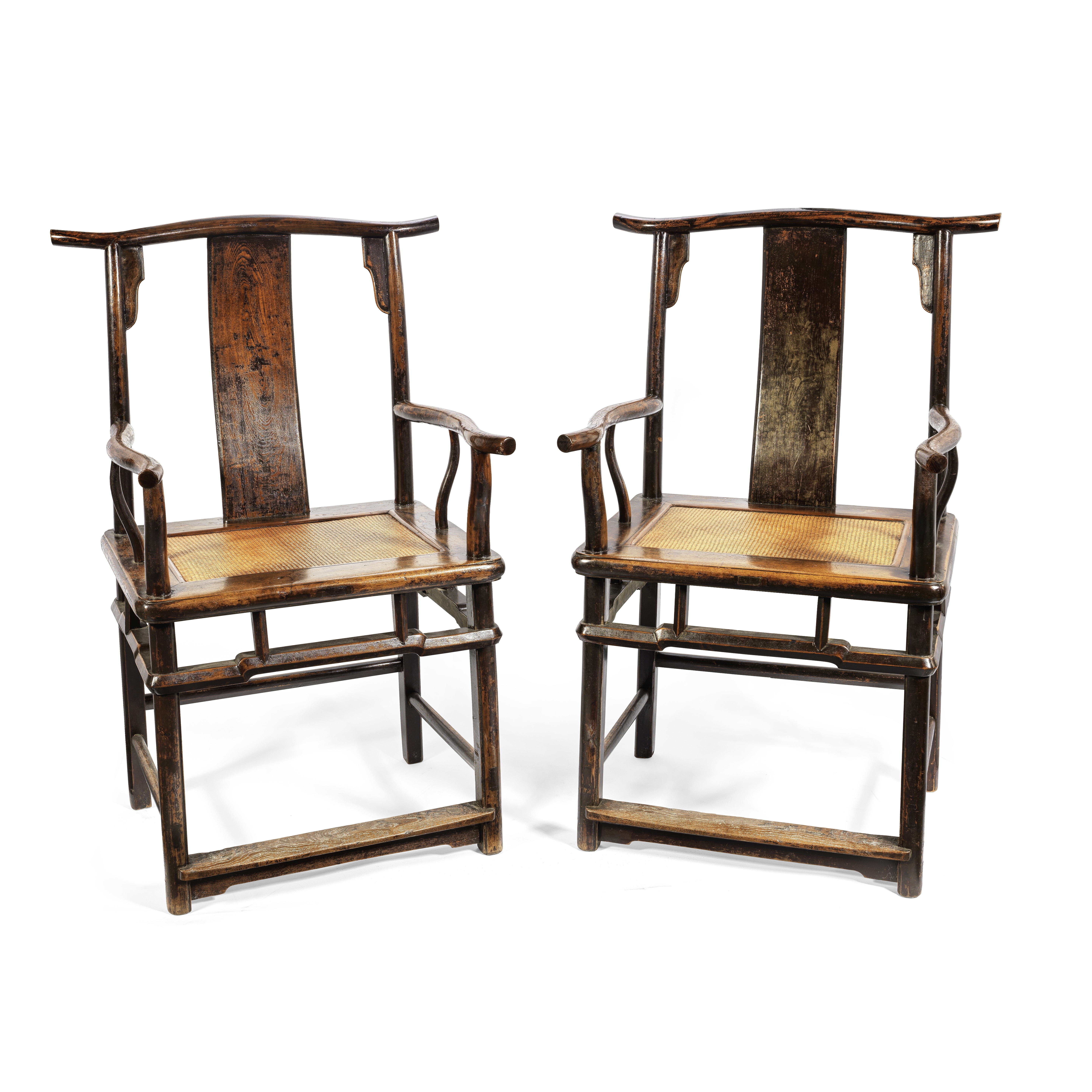 A PAIR OF HARDWOOD 'OFFICIAL'S HAT' ARMCHAIRS Late Qing Dynasty (2)