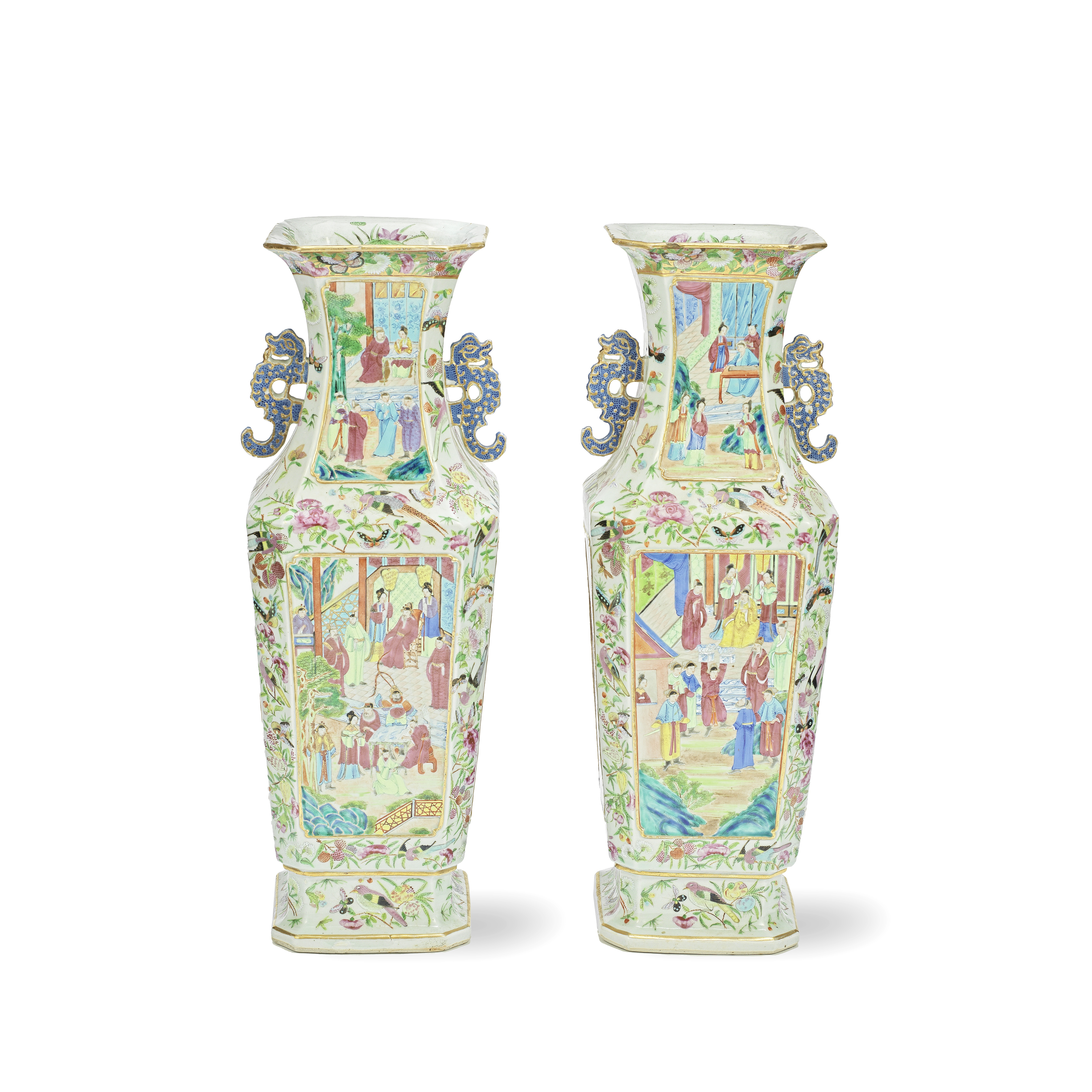 A PAIR OF CANTON FAMILLE ROSE SQUARE BALUSTER VASES 19th century (2)