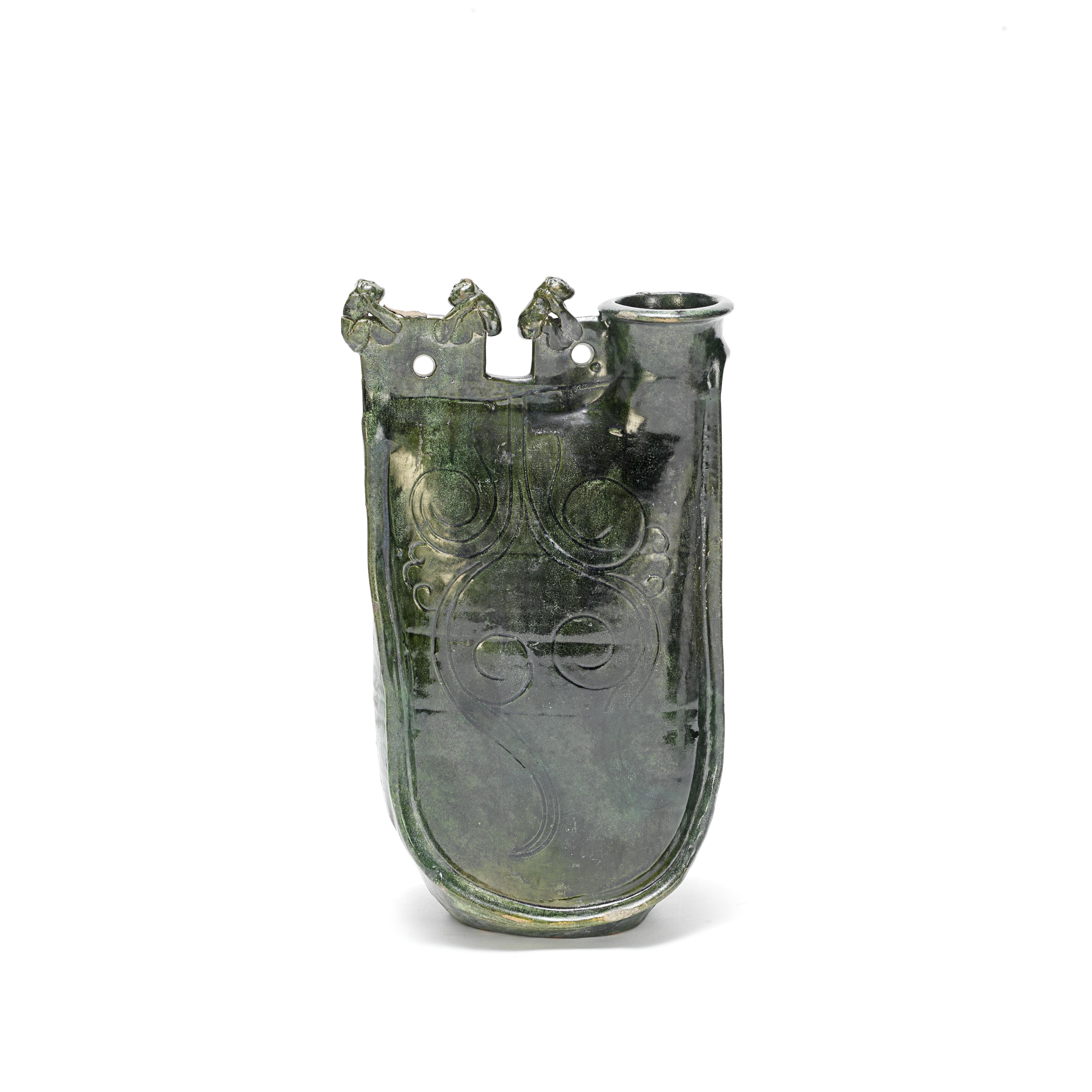 A GREEN-GLAZED FLASK Liao Dynasty