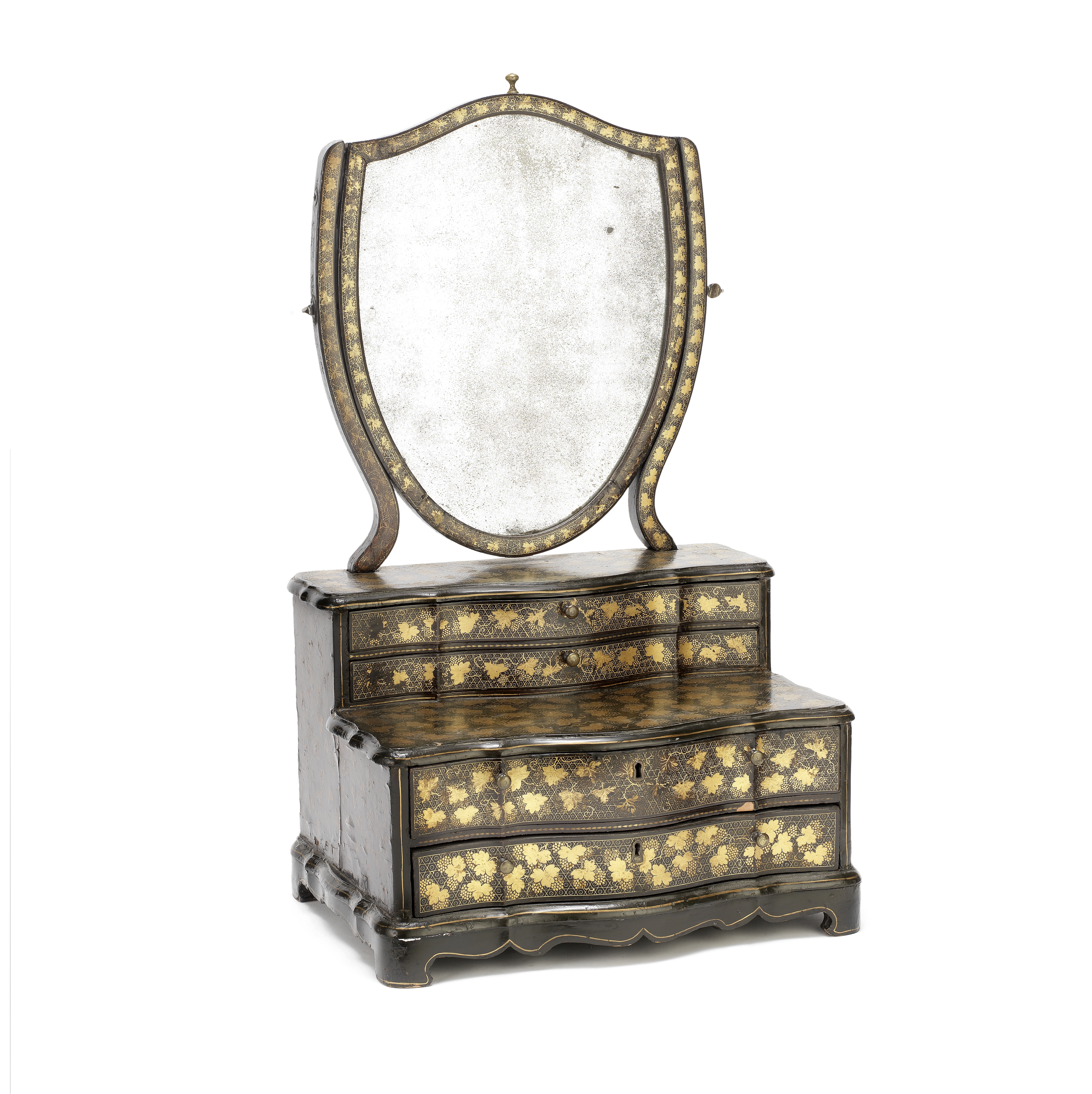 AN EXPORT BLACK LACQUER AND GILT-DECORATED MIRROR STAND Early 19th century