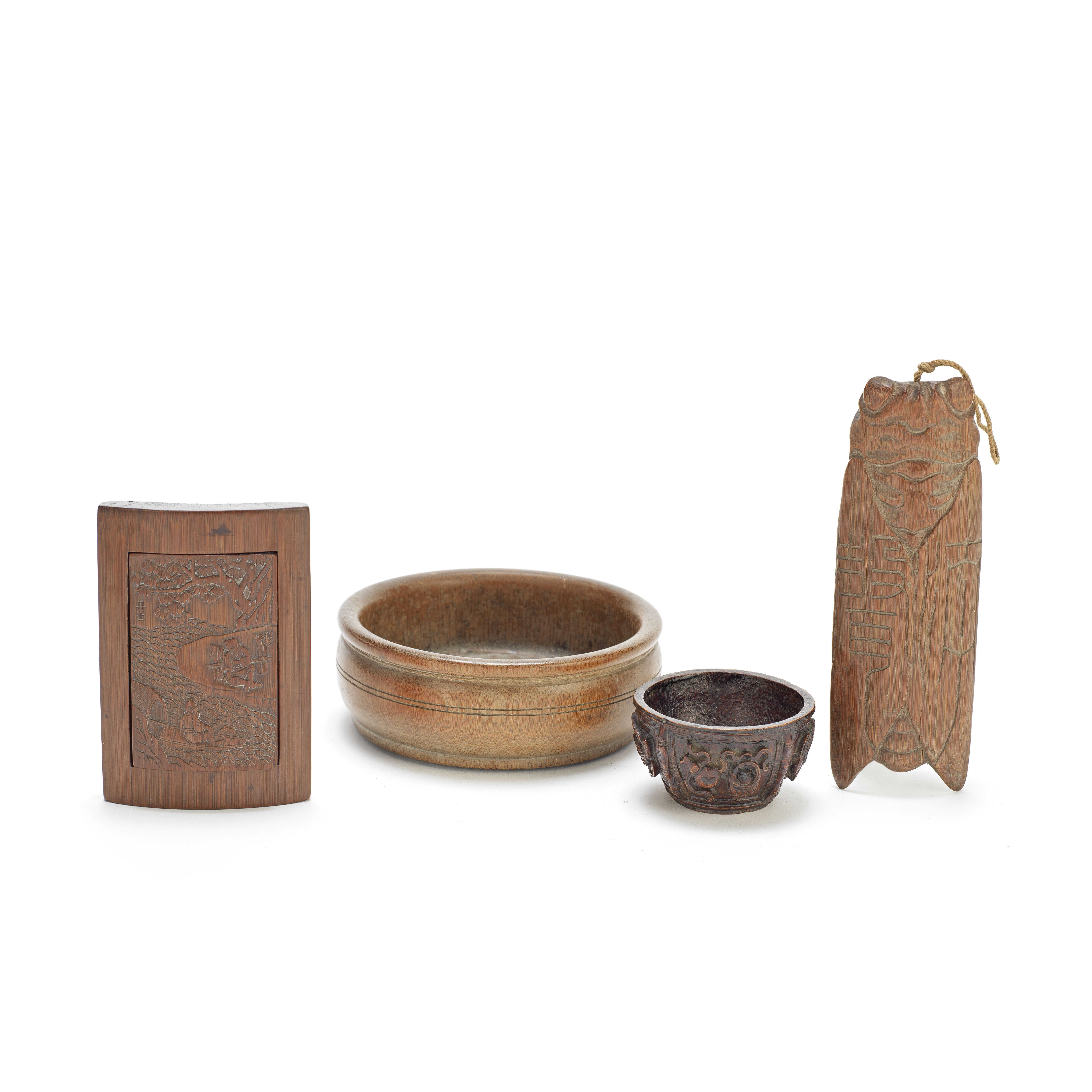 A GROUP OF FOUR BAMBOO DESK OBJECTS Qing Dynasty (5)