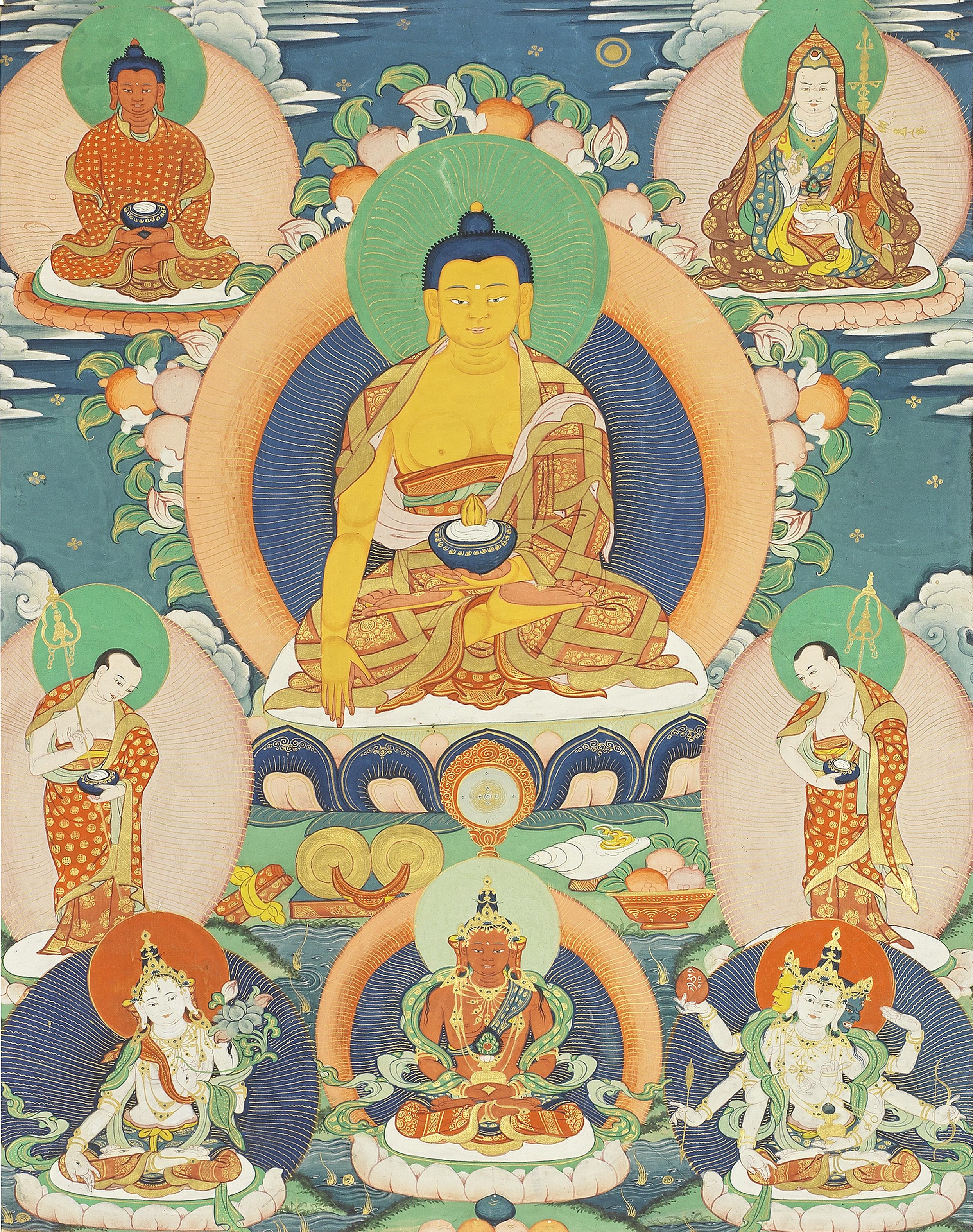 A THANGKA OF BUDDHA SHAKYAMUNI 19th/20th century