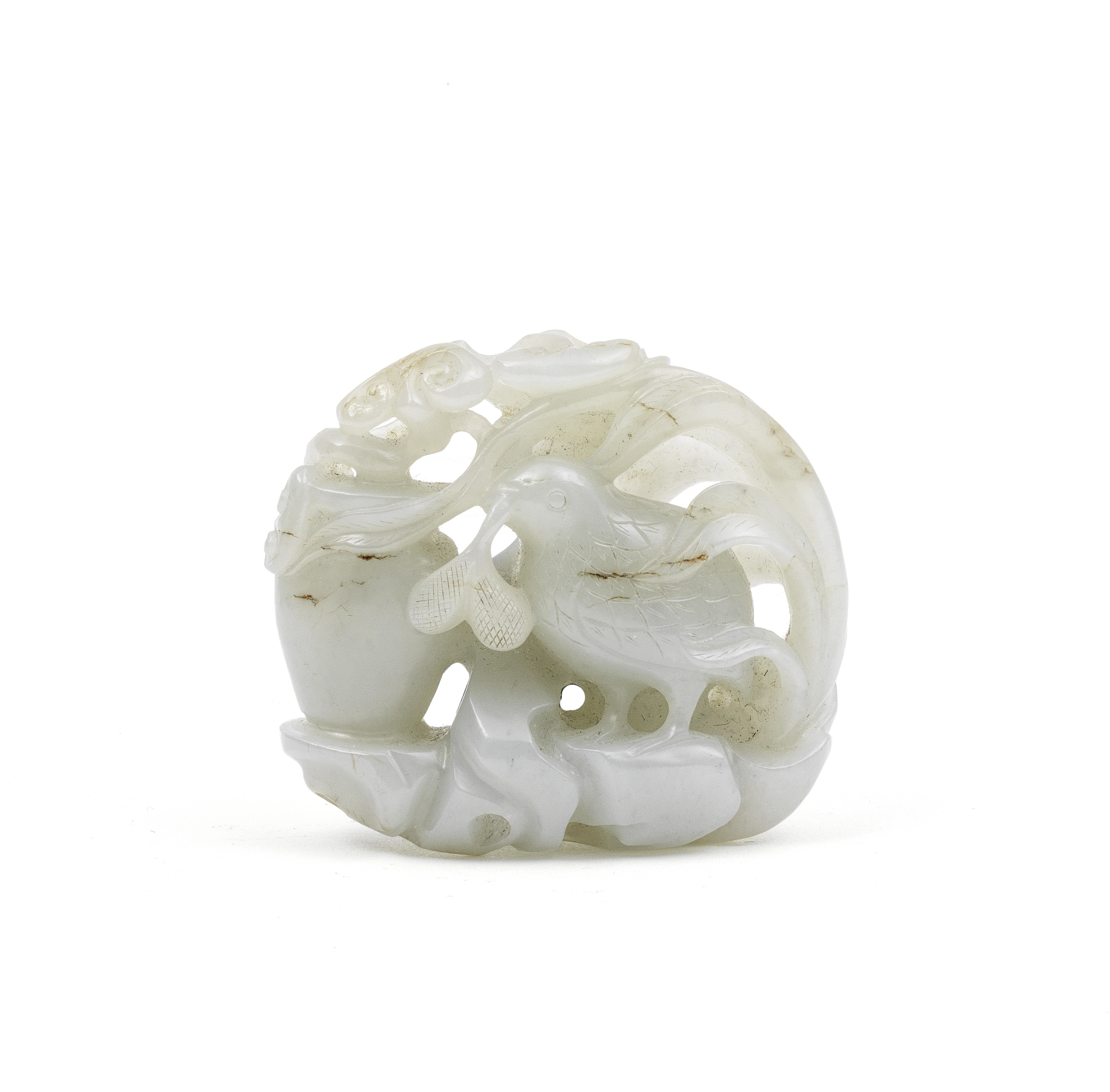 A RETICULATED WHITE JADE 'QUAIL' GROUP Qing Dynasty