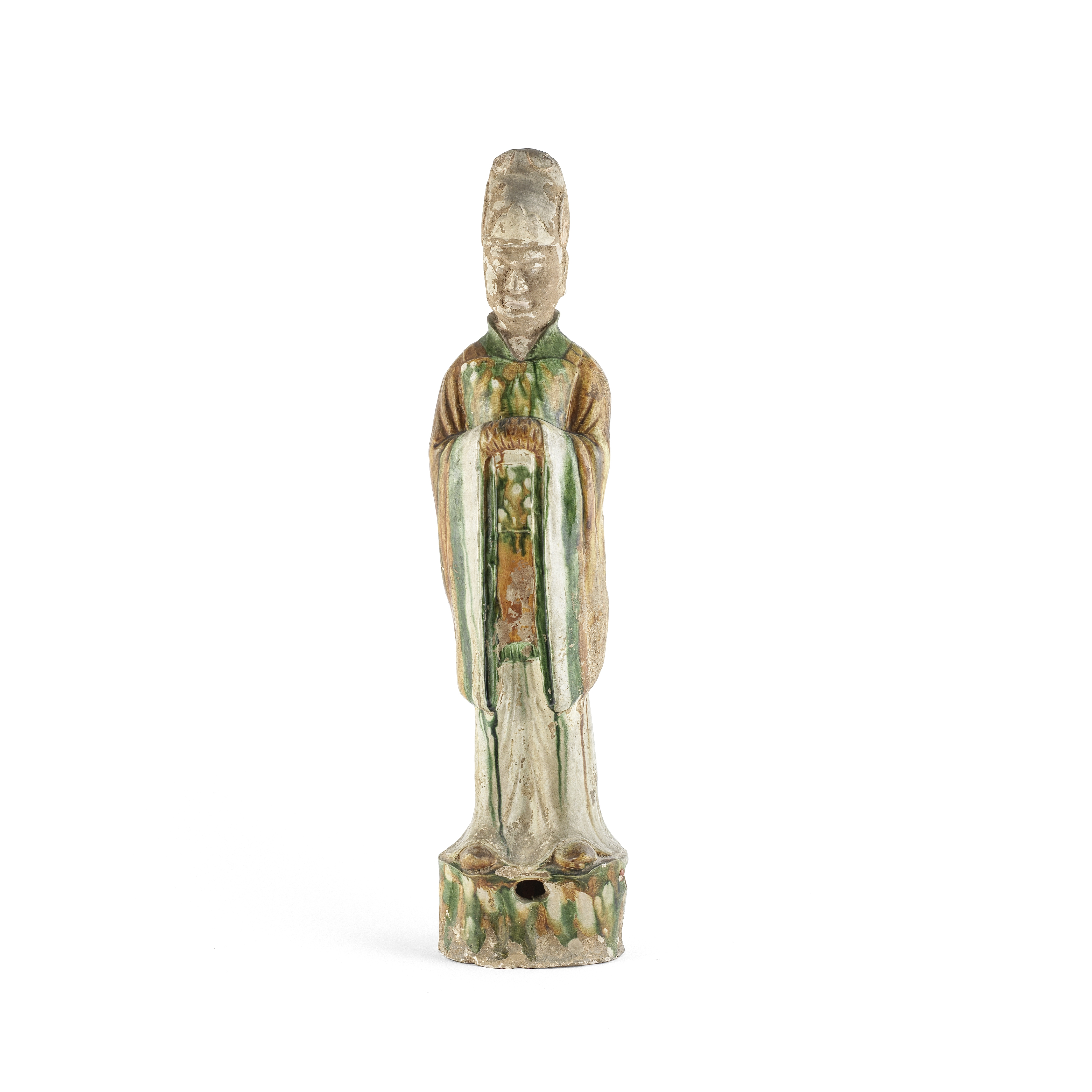 A LARGE SANCAI-GLAZED FIGURE OF AN OFFICIAL Tang Dynasty 76.5cm (30 1/8in) high
