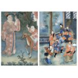 TWO REVERSE GLASS PAINTINGS 19th century (2)