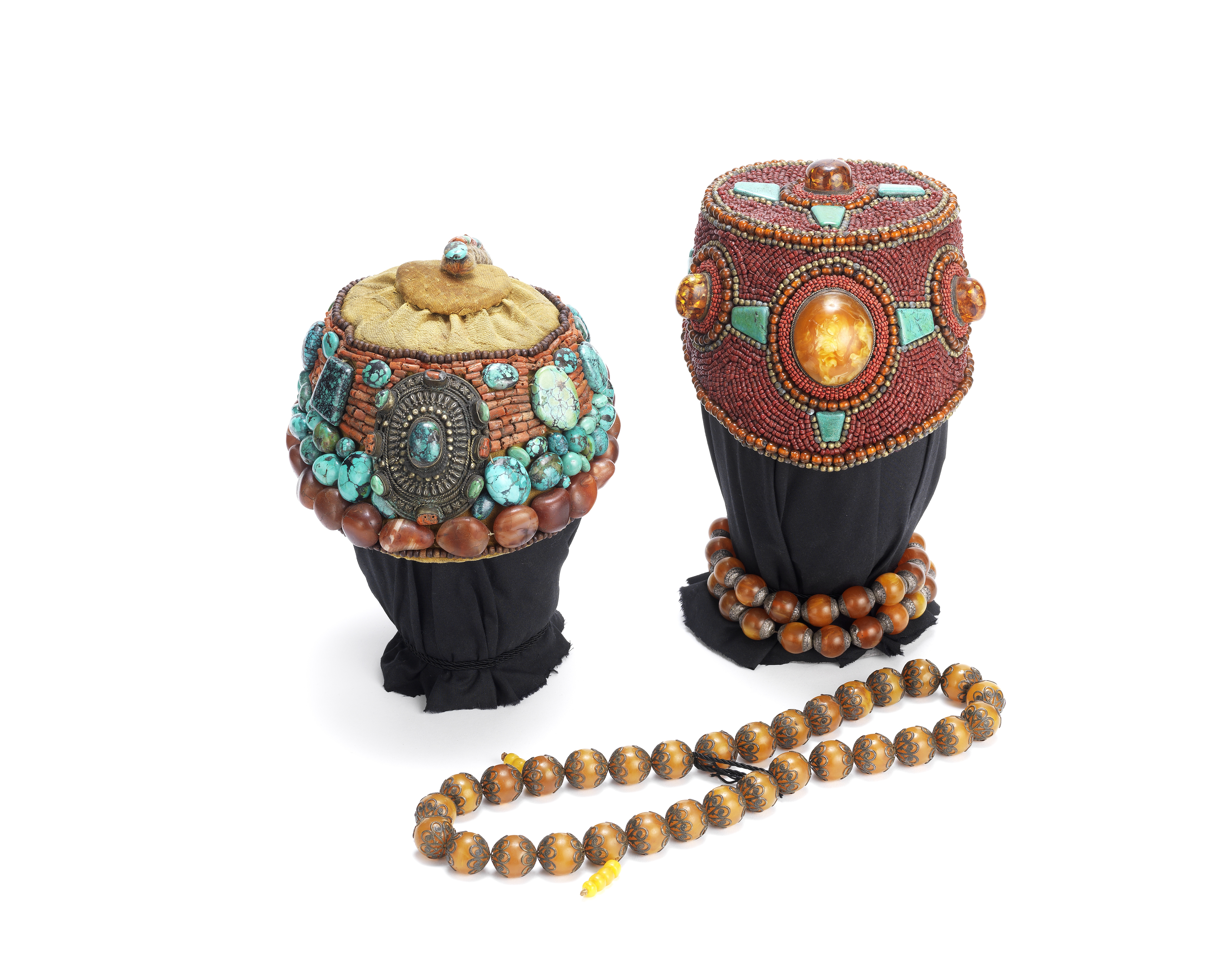 TWO RITUAL HATS AND TWO STRINGS OF PRAYER BEADS Tibet, circa 1840-1900 (6)