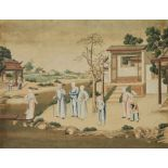 ANONYMOUS, CHINESE EXPORT SCHOOL (LATE 18TH CENTURY) 'Ladies and Eunuchs in a garden'