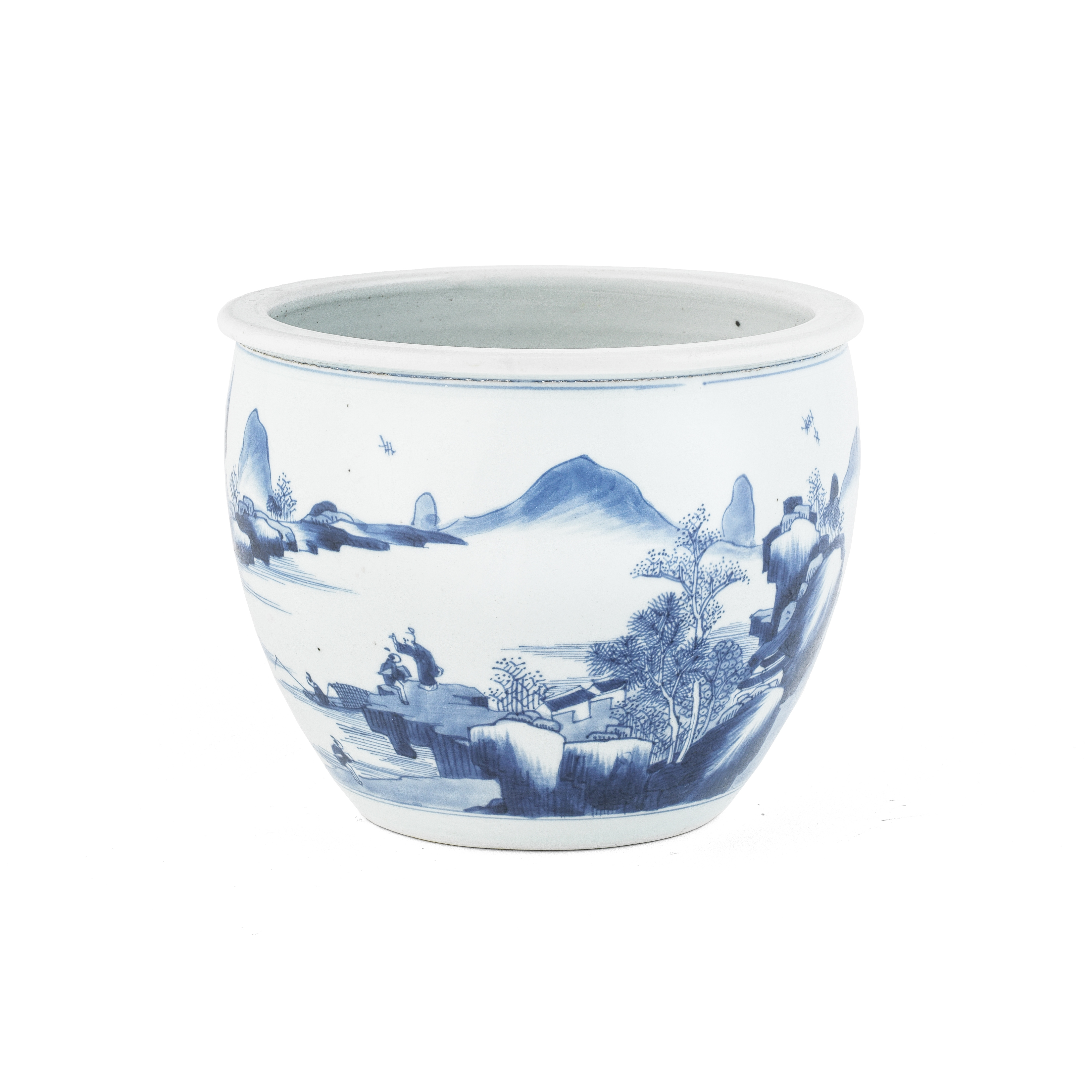 A BLUE AND WHITE 'LANDSCAPE' BOWL 18th century