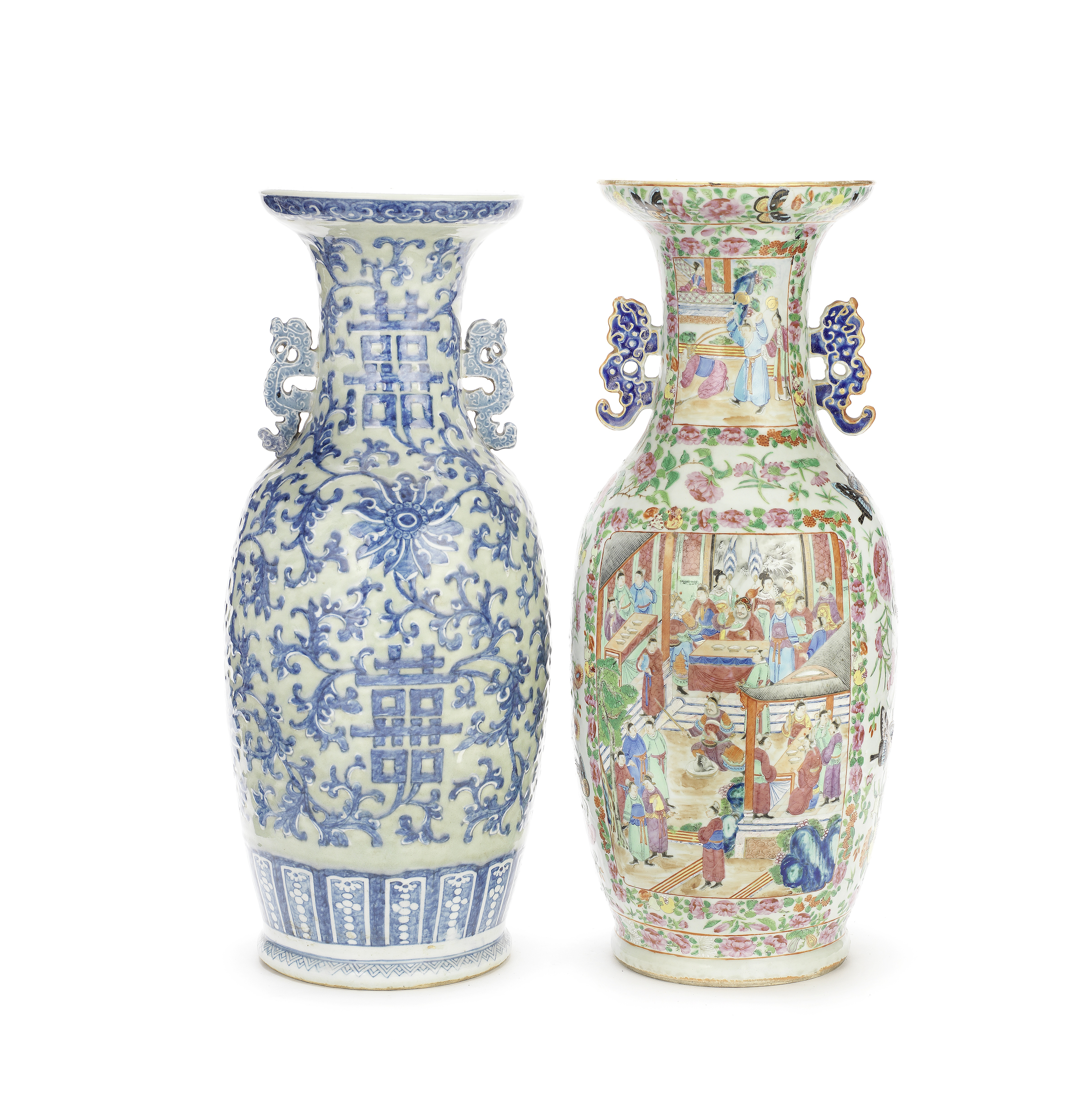 A CANTON FAMILLE ROSE VASE AND A CELADON-GROUND VASE Late 19th century (2)