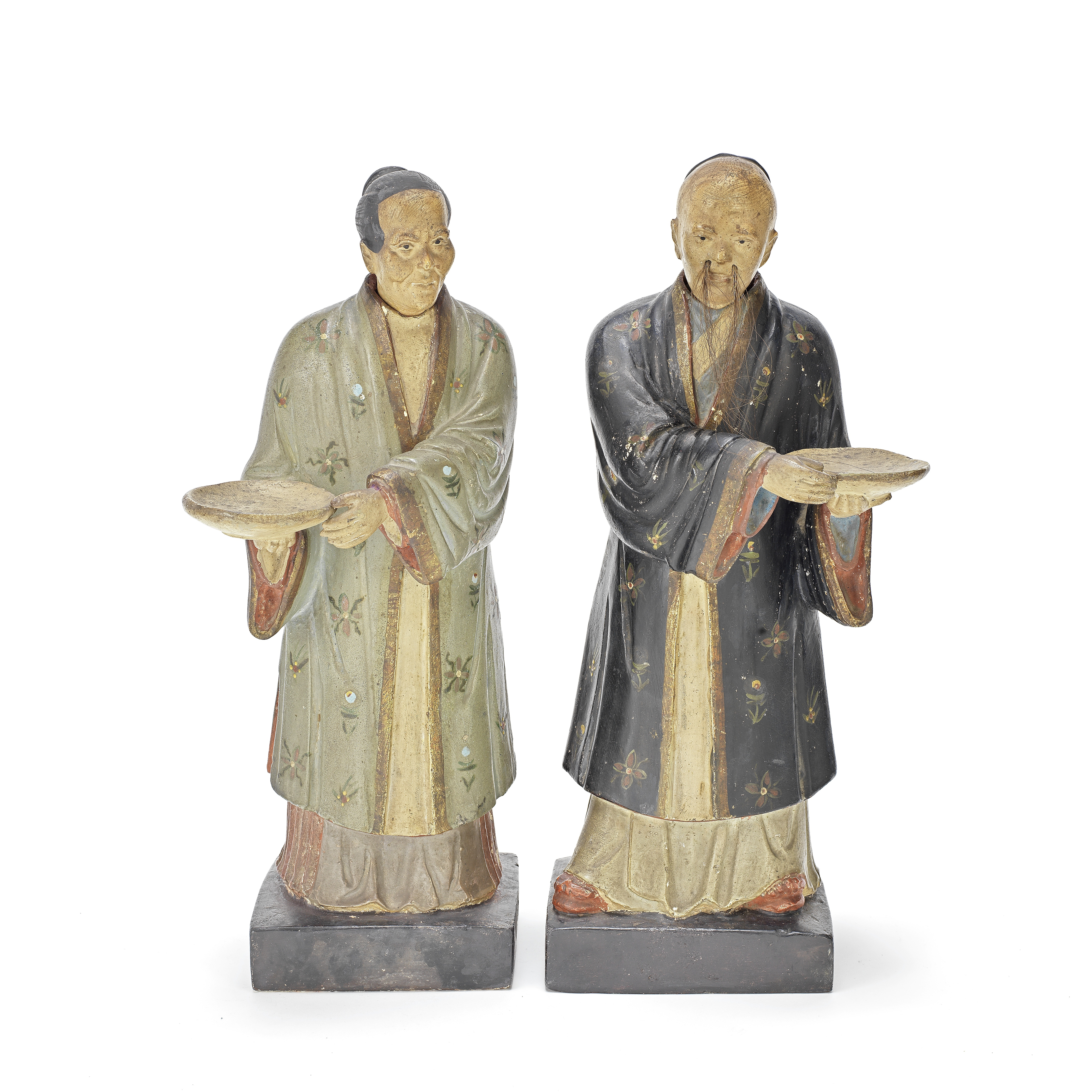 A PAIR OF EXPORT PAINTED CLAY 'NODDING HEAD' FIGURES Early 19th century (2)