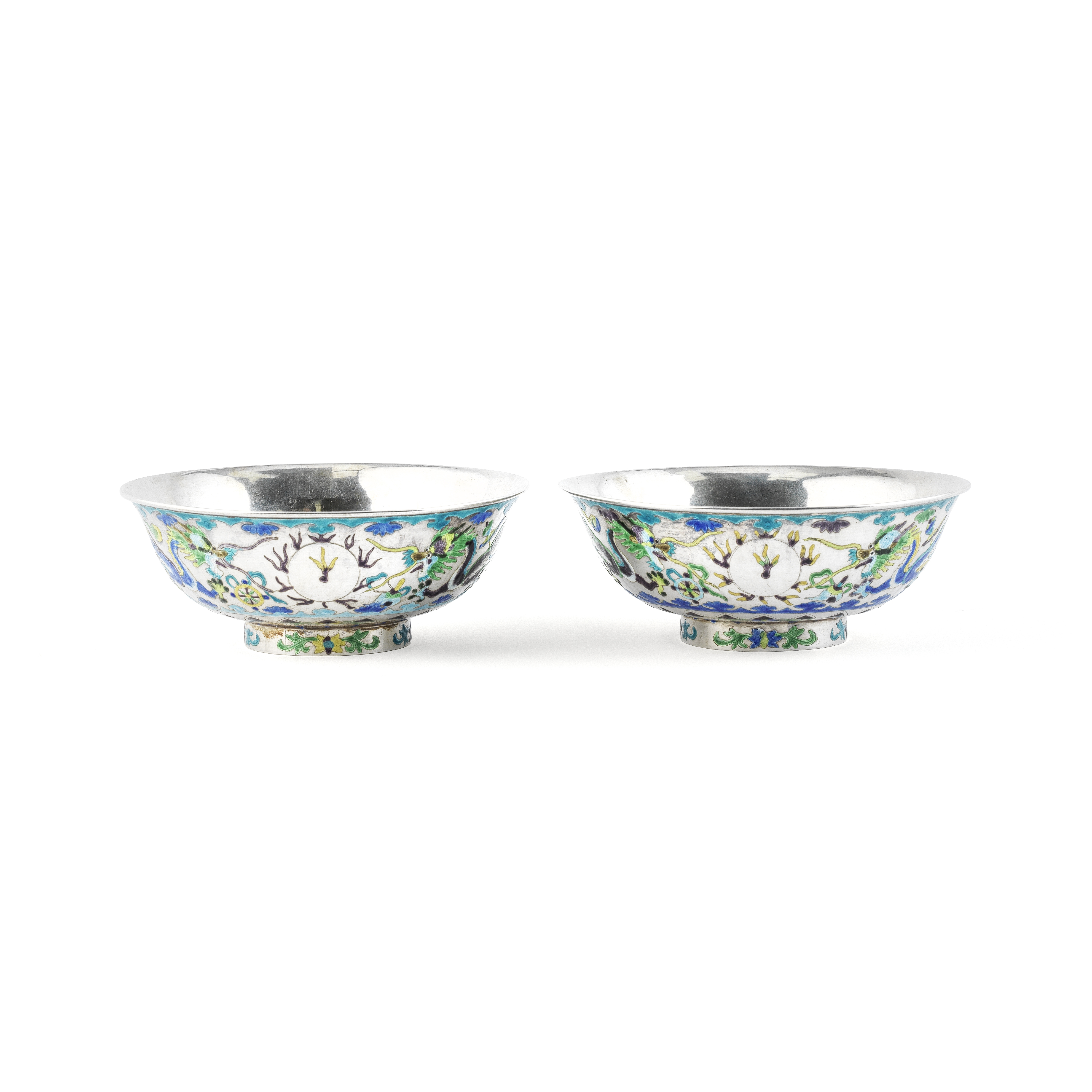 A PAIR OF ENAMELLED SILVER BOWLS 20th century (2)