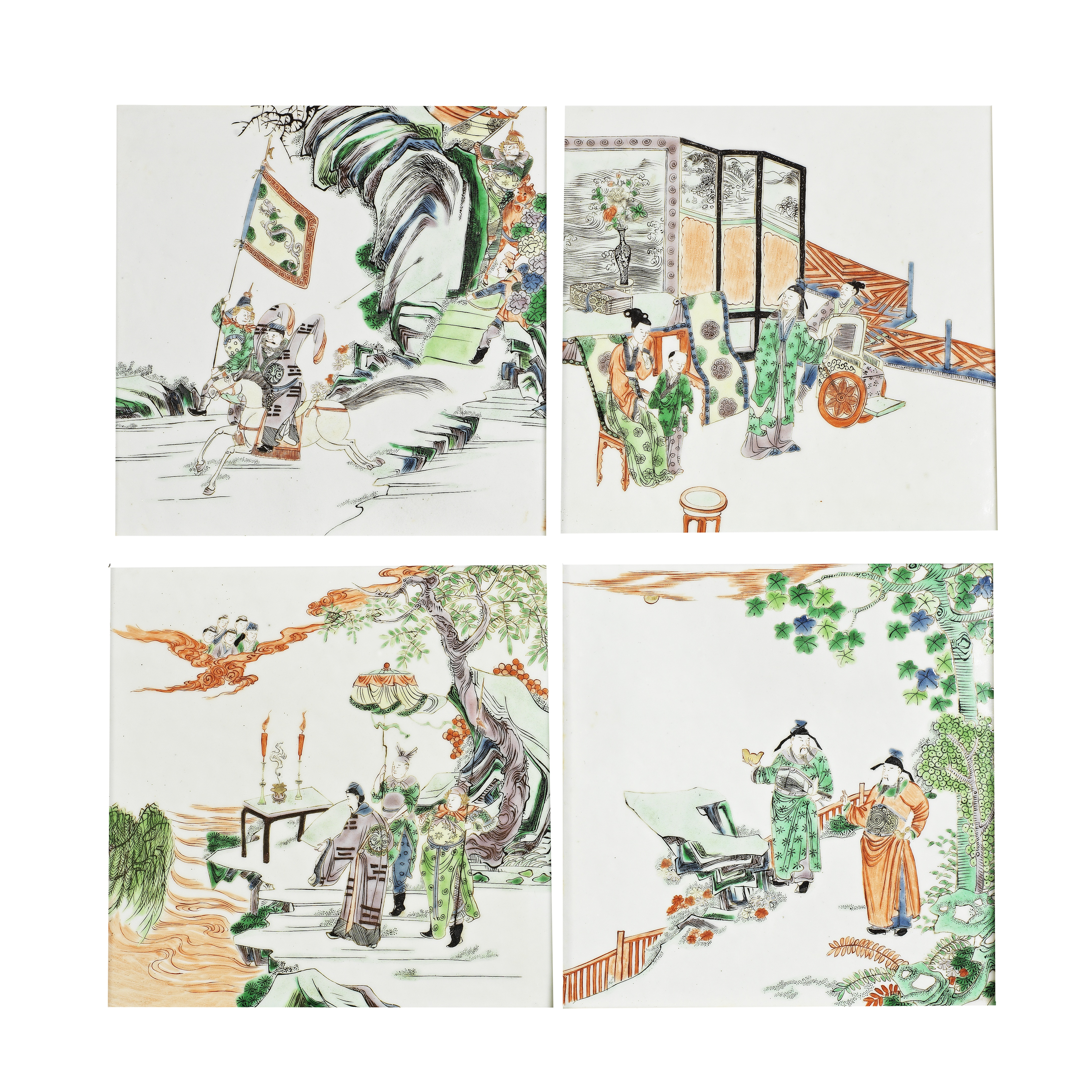 A SET OF FOUR FAMILLE VERTE PLAQUES Qing Dynasty (4)